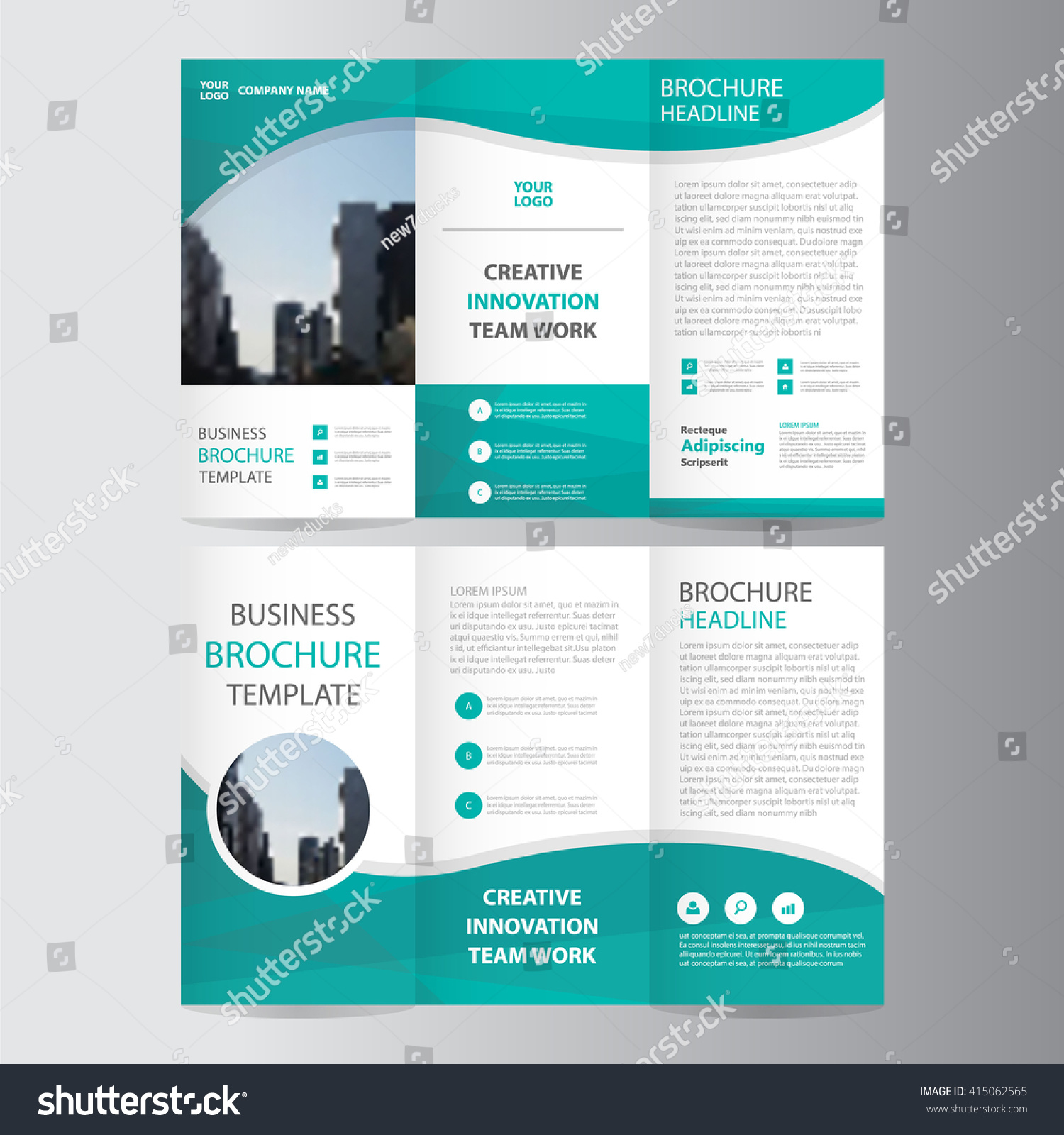 Green elegance business trifold business leaflet stock vector green elegance business trifold business leaflet brochure flyer template vector minimal flat design set wajeb Images