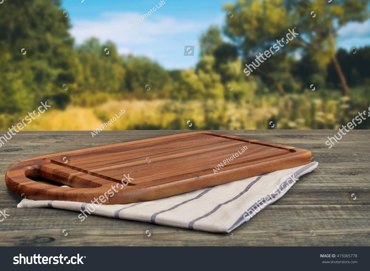 Wooden Cutting Board Closeup On Picnic Stock Photo Edit Now - Picnic table raft