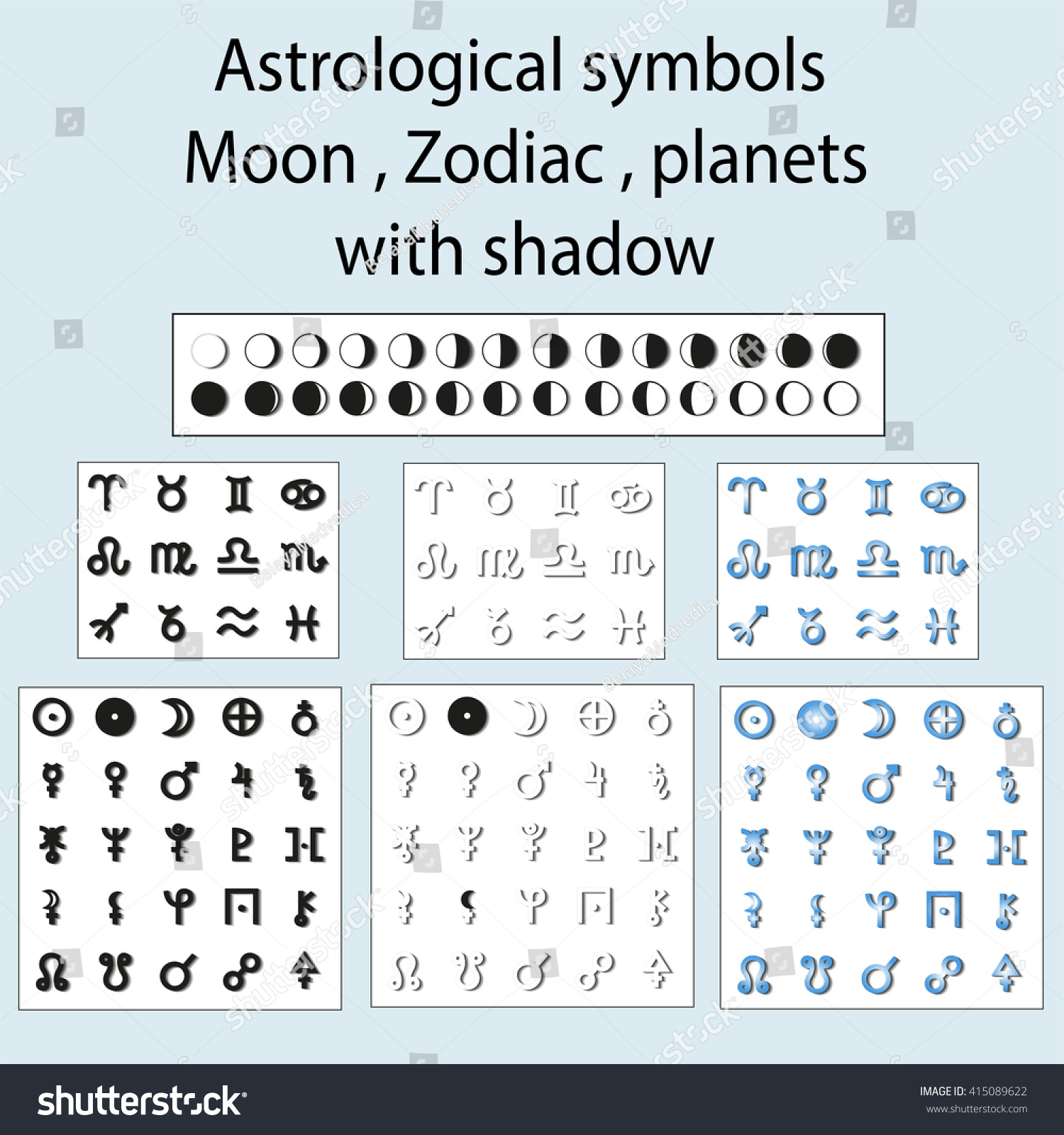 Astrological Symbols Moon Planets Zodiac Shadow Stock Illustration