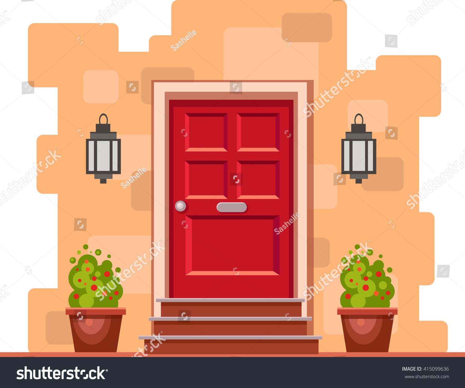Front Door Cartoon & The Illustration With An Wooden Front ...