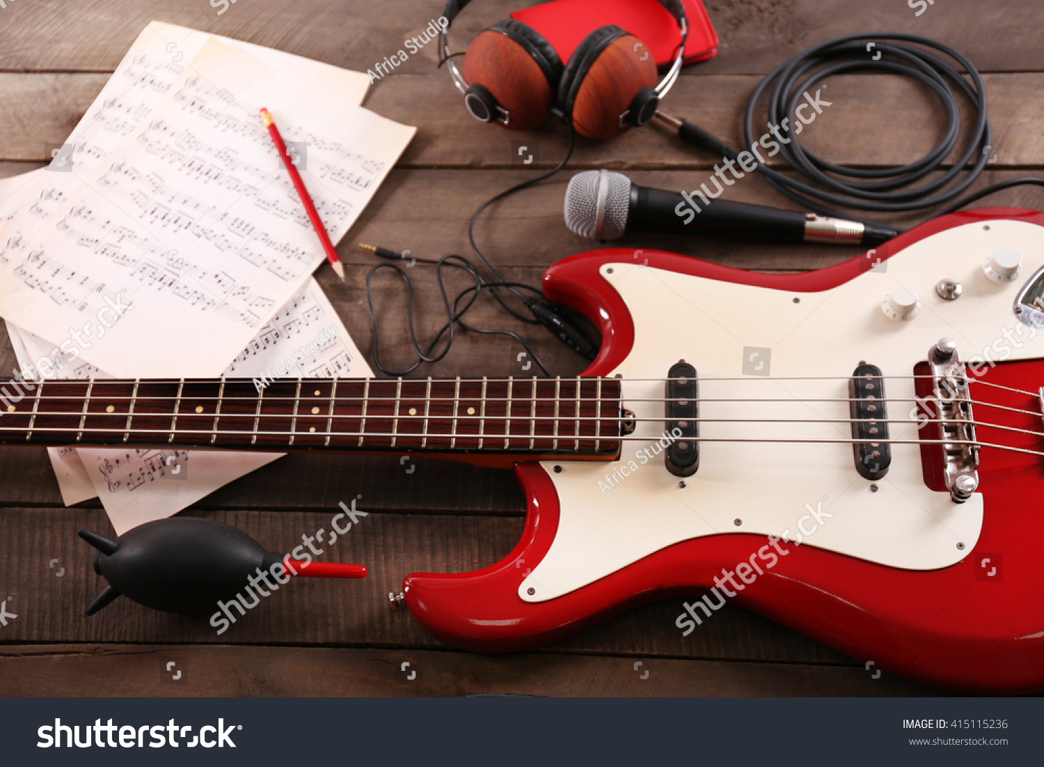 electric guitar notes microphone headphones on stock photo 415115236 shutterstock. Black Bedroom Furniture Sets. Home Design Ideas