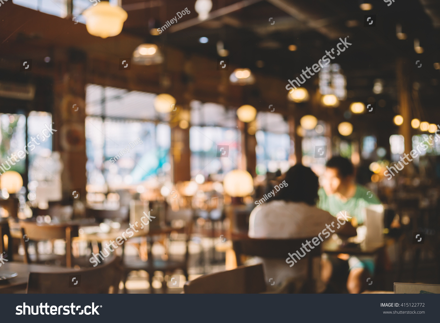 Restaurant Background With People blurred background restaurant people stock photo 415122772