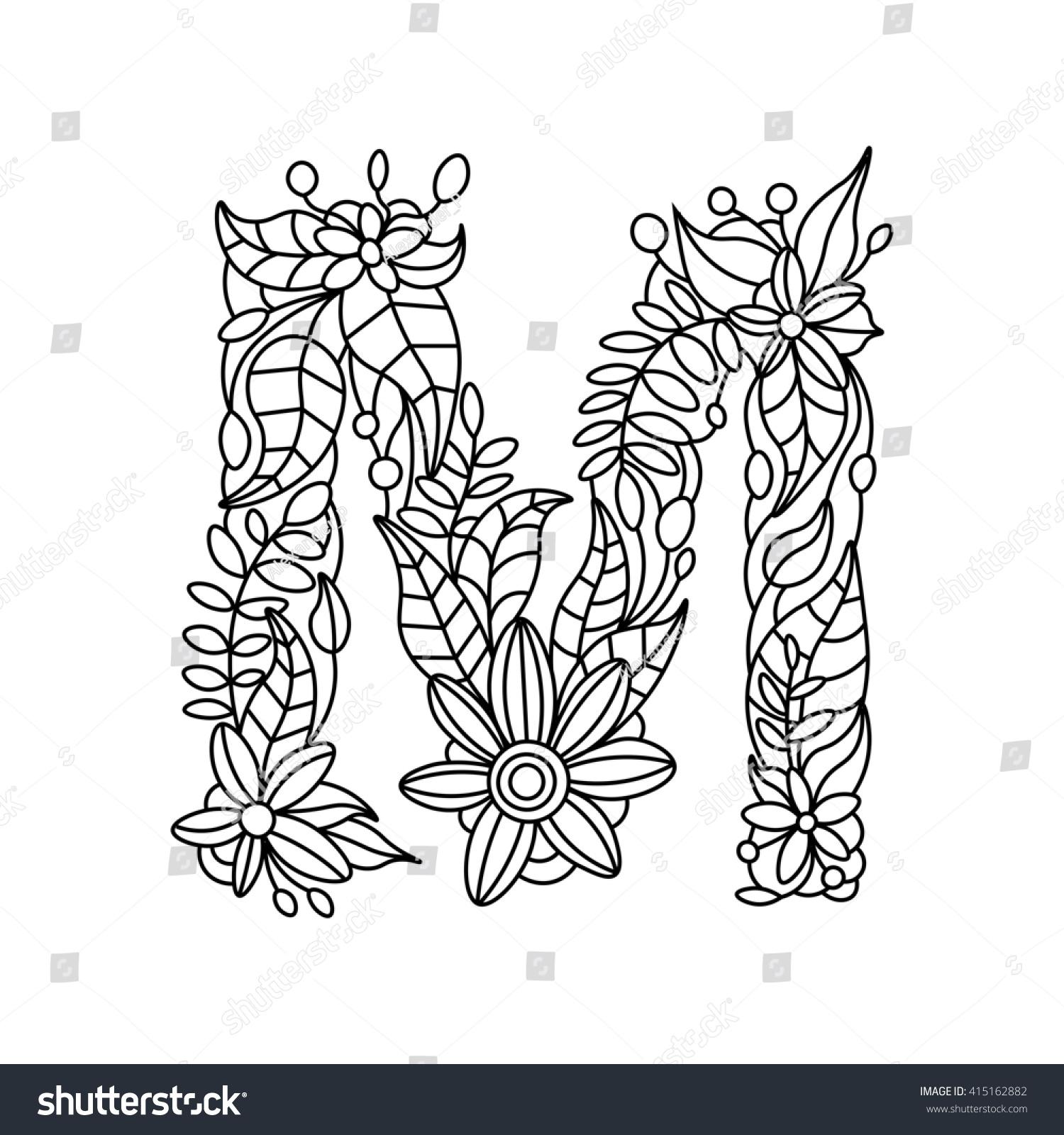Floral Alphabet Letter Coloring Book For Adults Raster Illustration 415162882