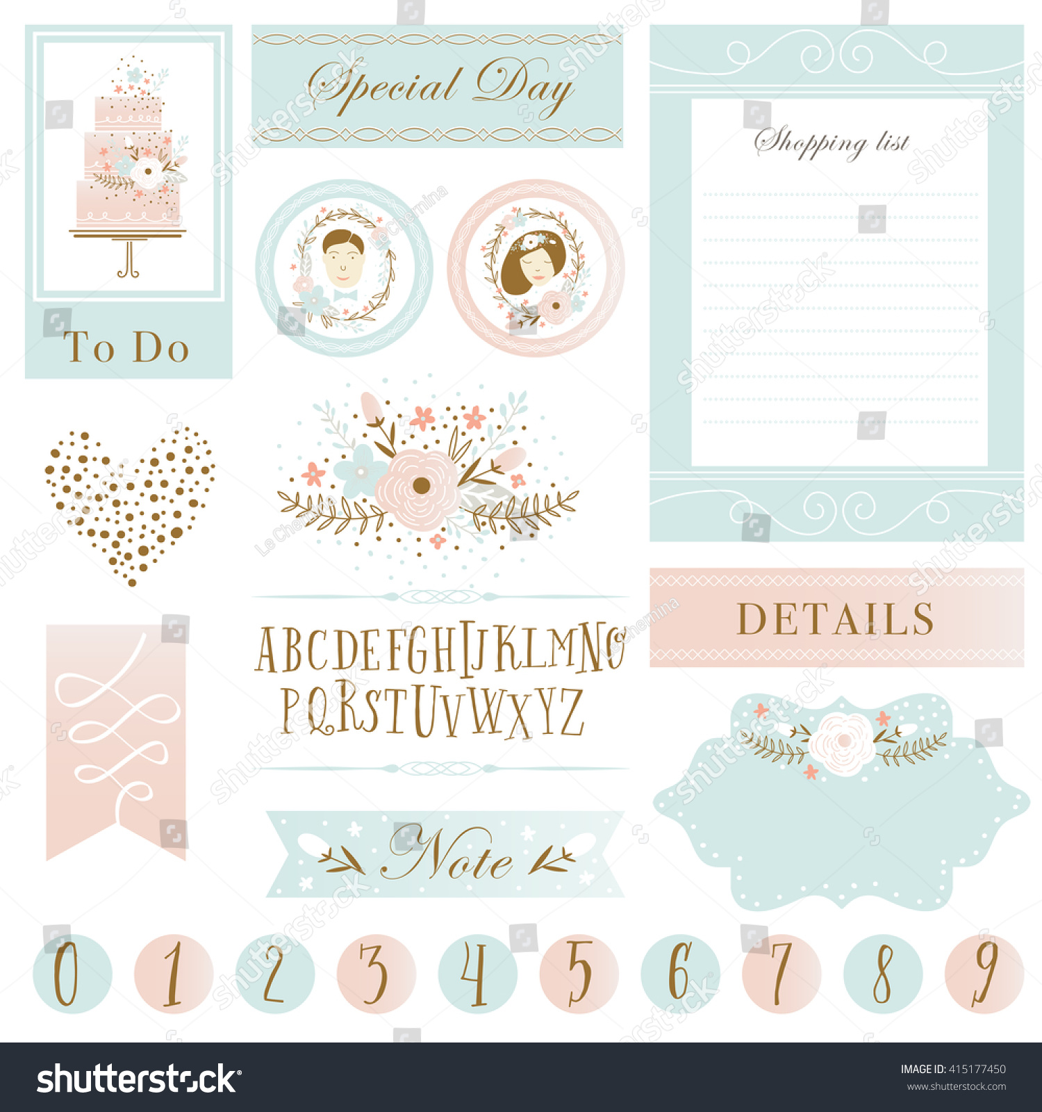 Romantic Love Cards Stickers Notes Labels Stock Vector Royalty Free