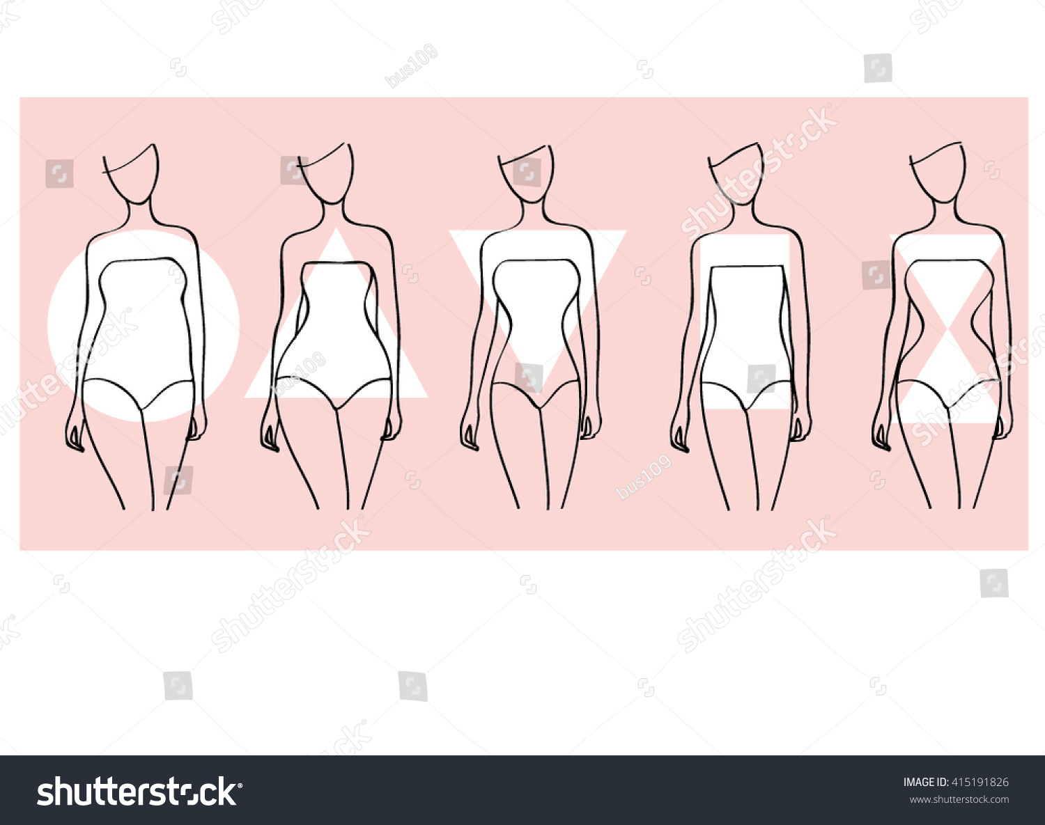 Line Art Shapes : Woman body shapes round triangle rectangle stock vector