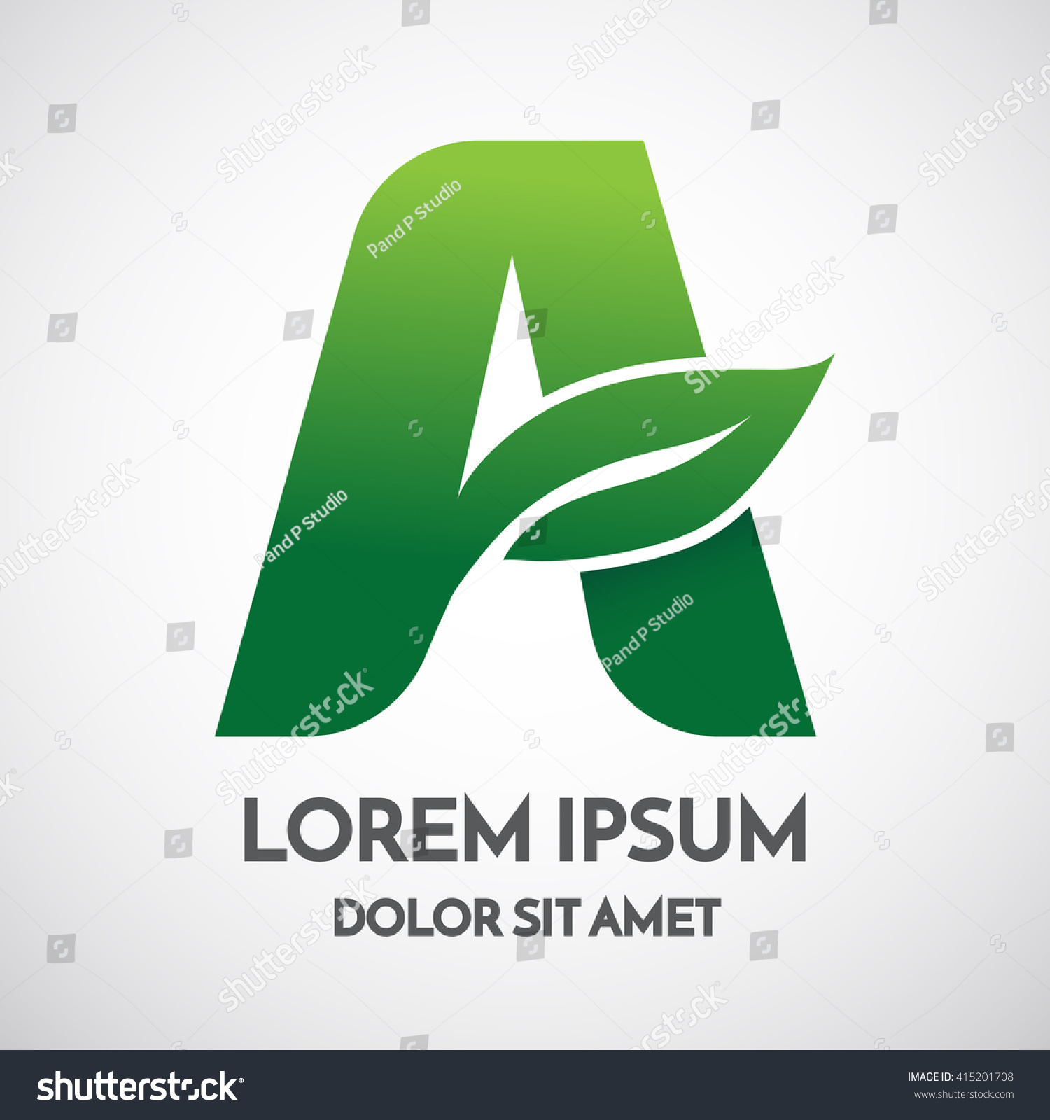 Green eco Letter A Logo Template Design