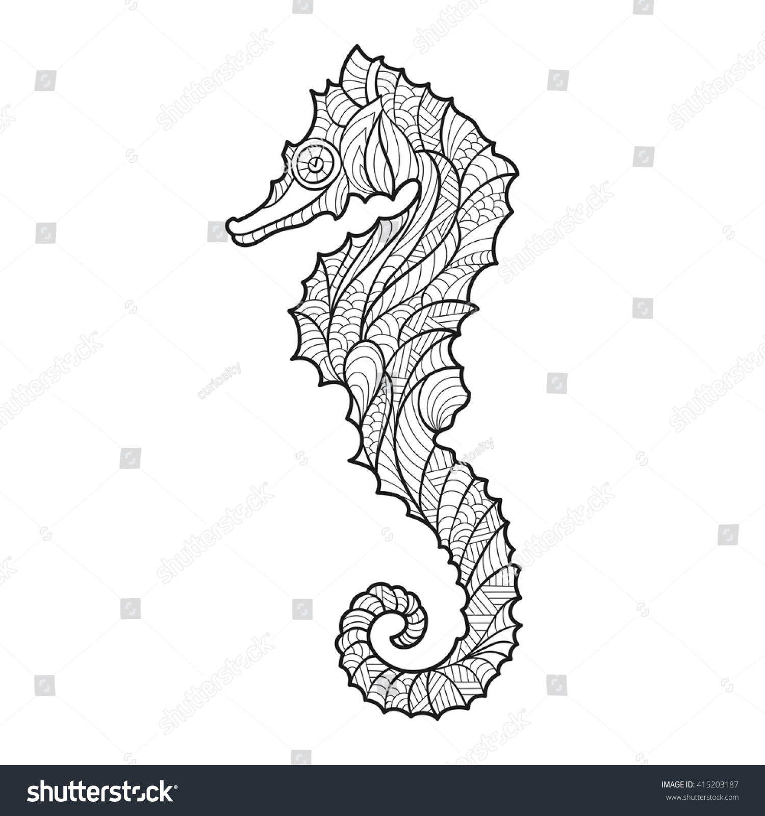 vector monochrome hand drawn zentagle illustration stock vector