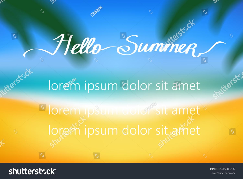 Hello Summer Simple Vector Background With A Beach. Seaside,sky, Ocean,sand