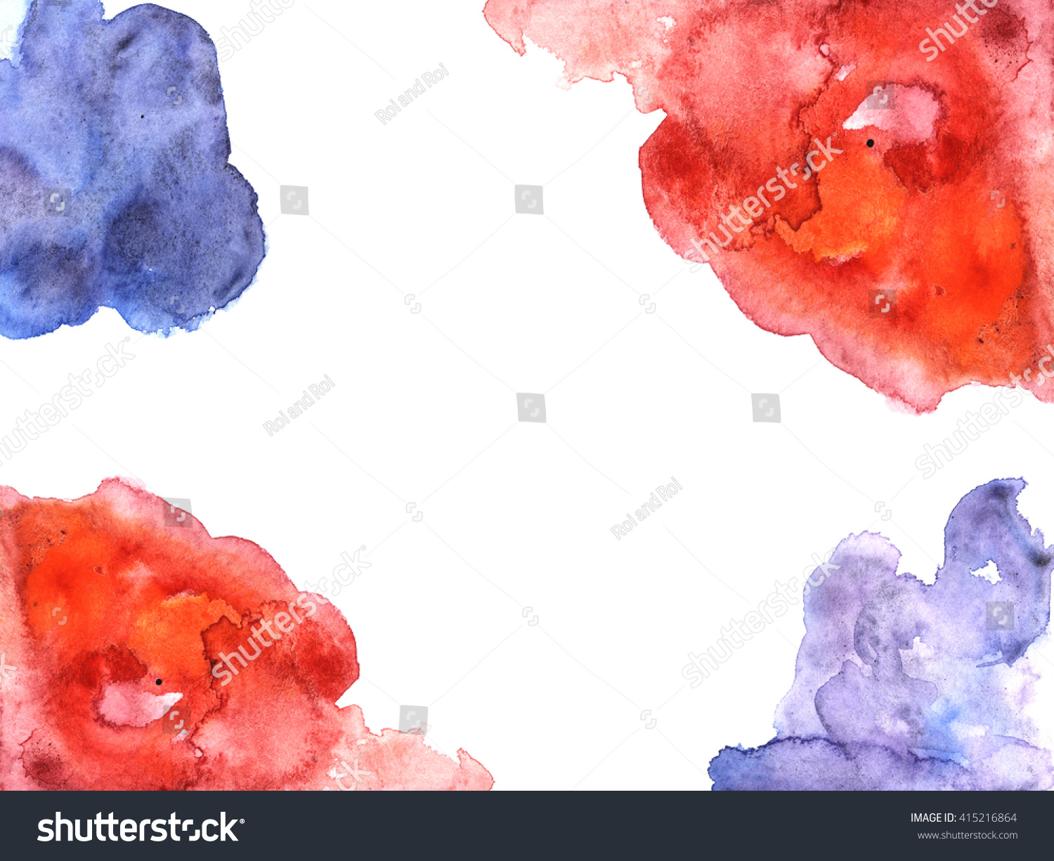 Red Blue Watercolor Empty Blank Wedding Stock Illustration 415216864 ...