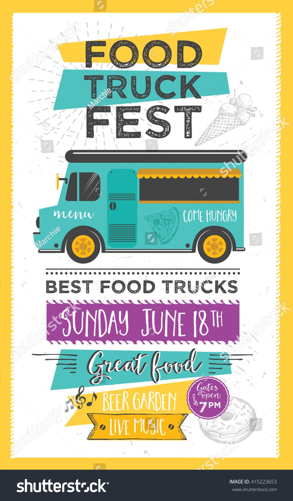 Food truck festival menu food brochure stock vektorgrafik for Food truck menu design