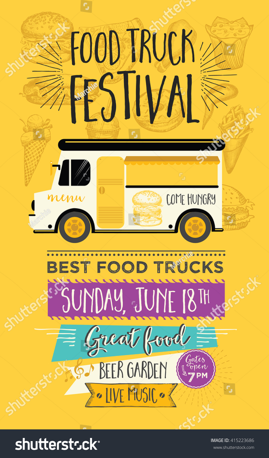 food truck festival menu food brochure stock vector 415223686