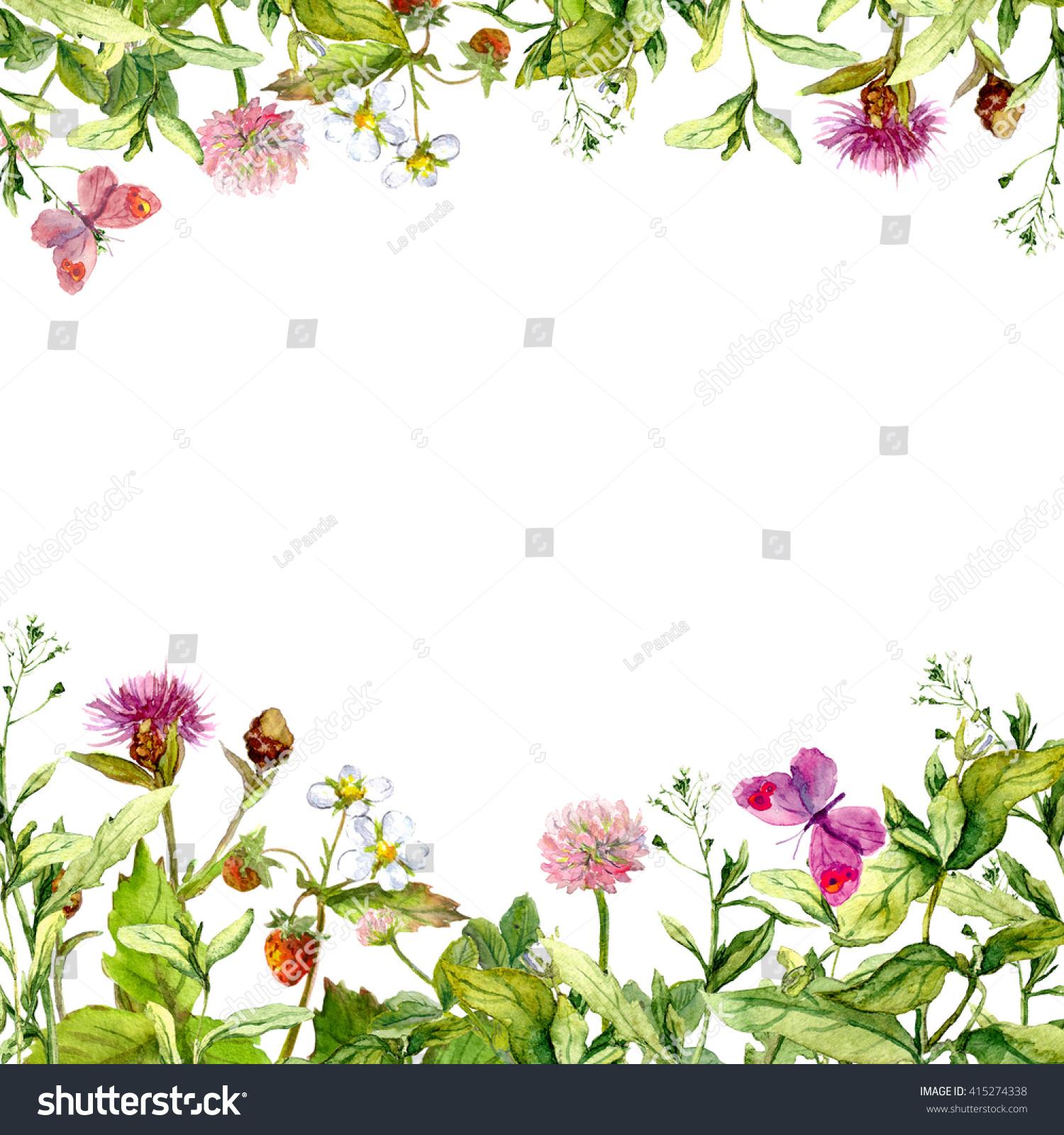 spring summer garden flowers grass herbs butterflies floral pattern - Garden Flowers