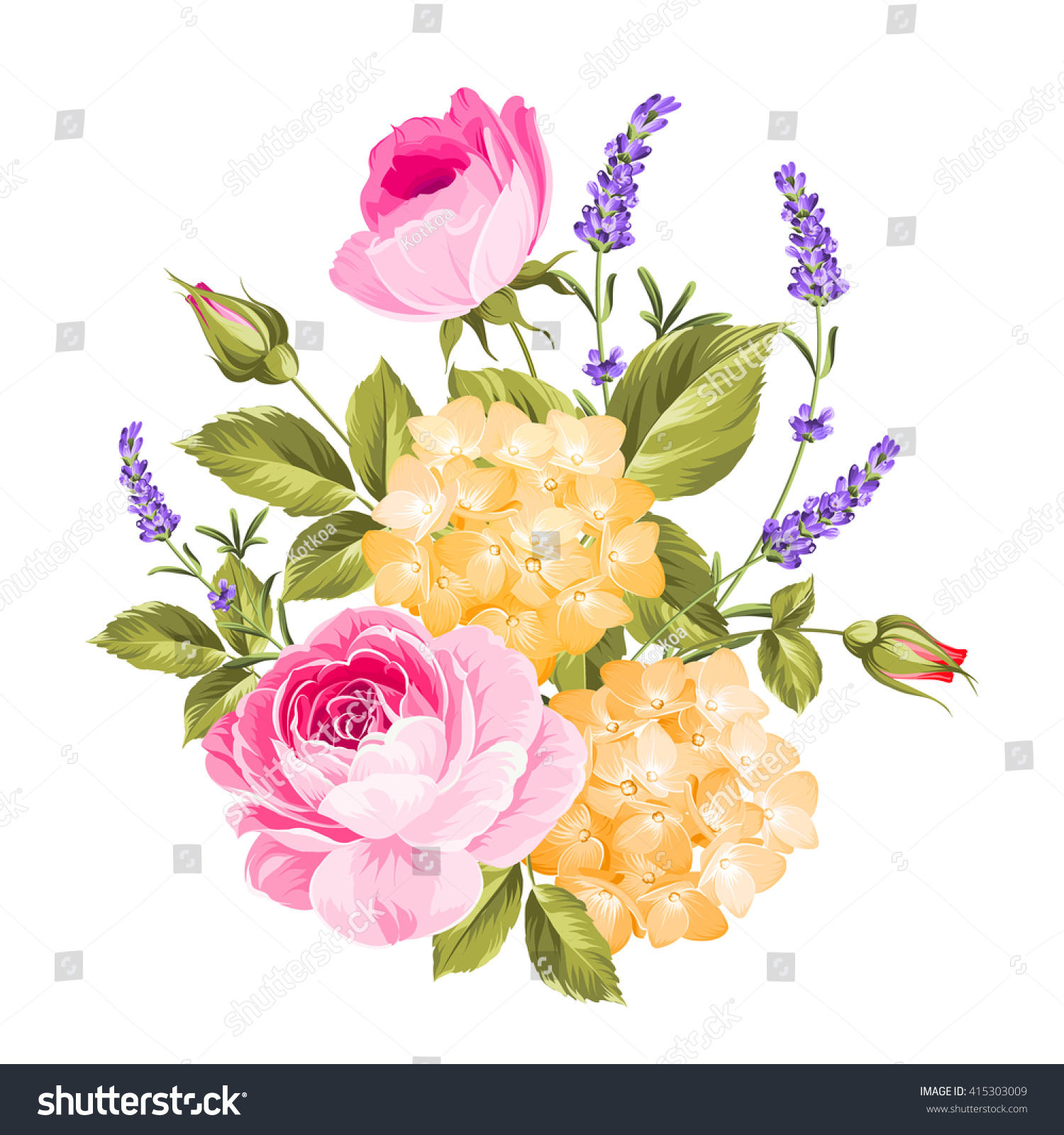 Spring Flowers Bouquet Color Bud Garland Stock Vector Royalty Free