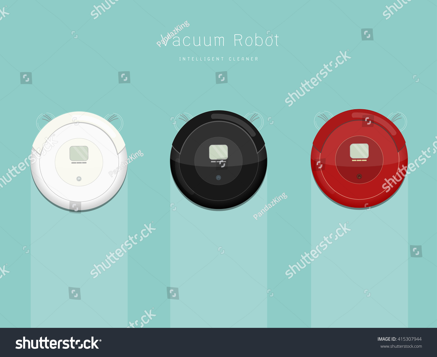 Graphic Of Vacuum Robot In Three Difference Colors Robots