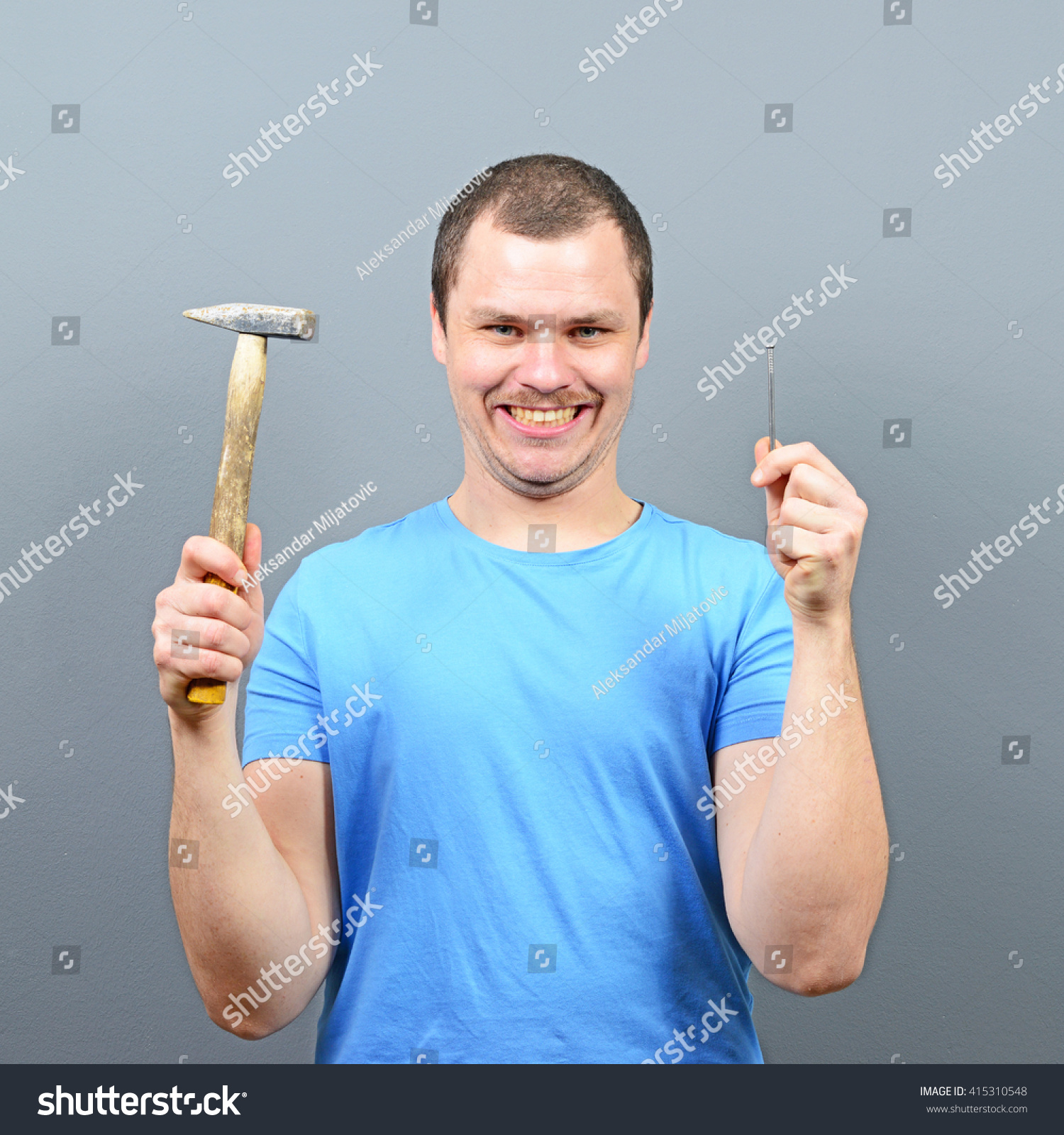 Portrait Funny Man Holding Hammer Nail Stock Photo (Edit Now ...