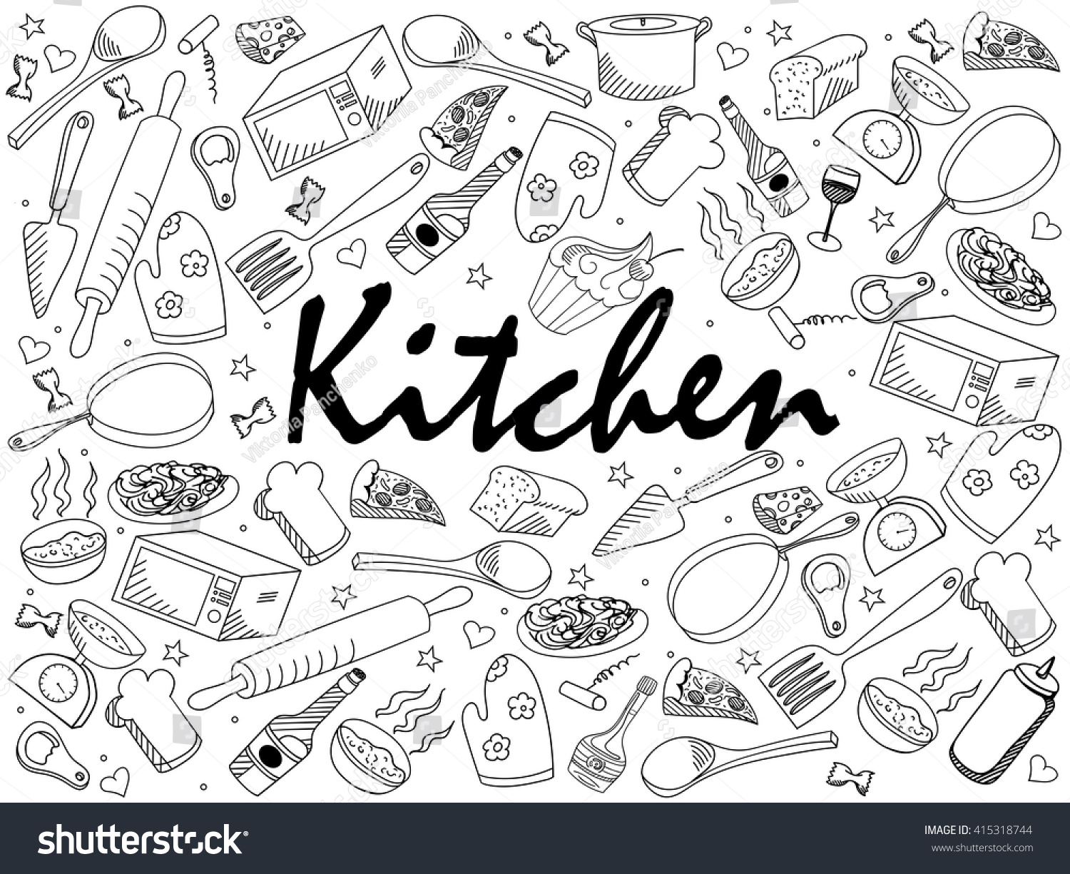 Kitchen Coloring Book Line Art Design Vector Illustration Separate Objects Hand Drawn Doodle
