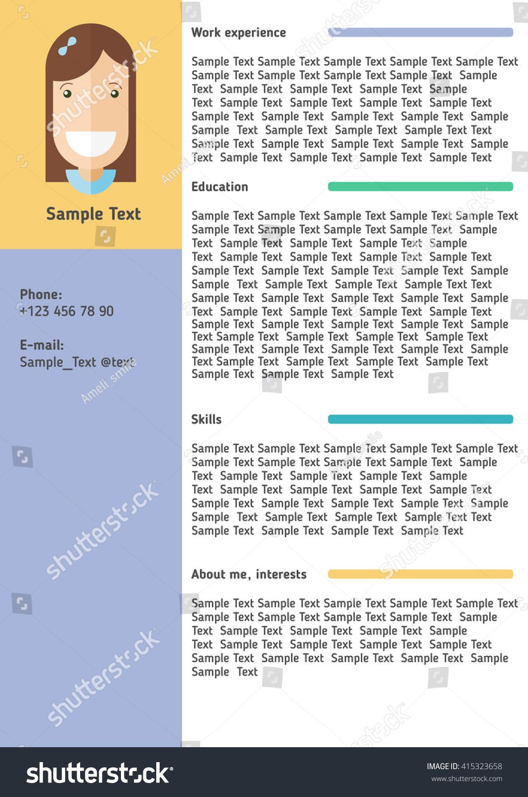 resume template flat design bright colors stock vector 415323658