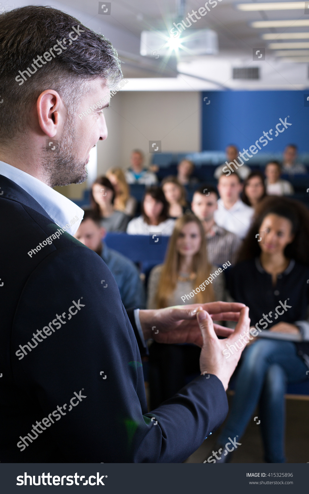 Over Shoulder Look Teacher Giving Lecture Stock Photo ...