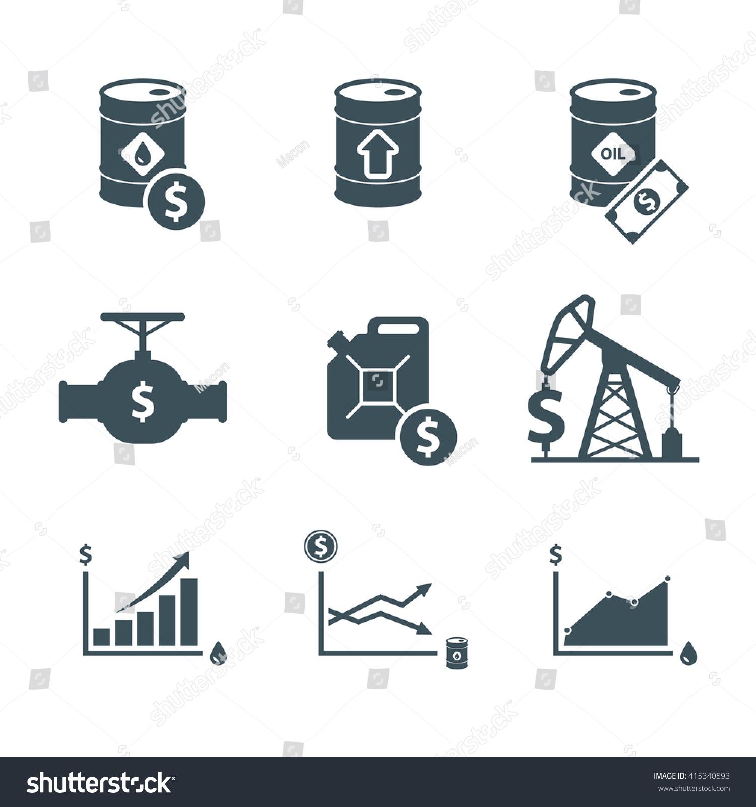 Oil Price Icon Set Crude Oil Stock Vector 415340593 Shutterstock