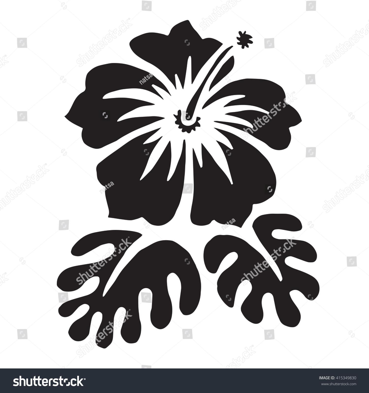 Hibiscus flower surfing tropical symbol black stock illustration hibiscus flower surfing and tropical symbol black silhouette isolated on white raster illustration izmirmasajfo