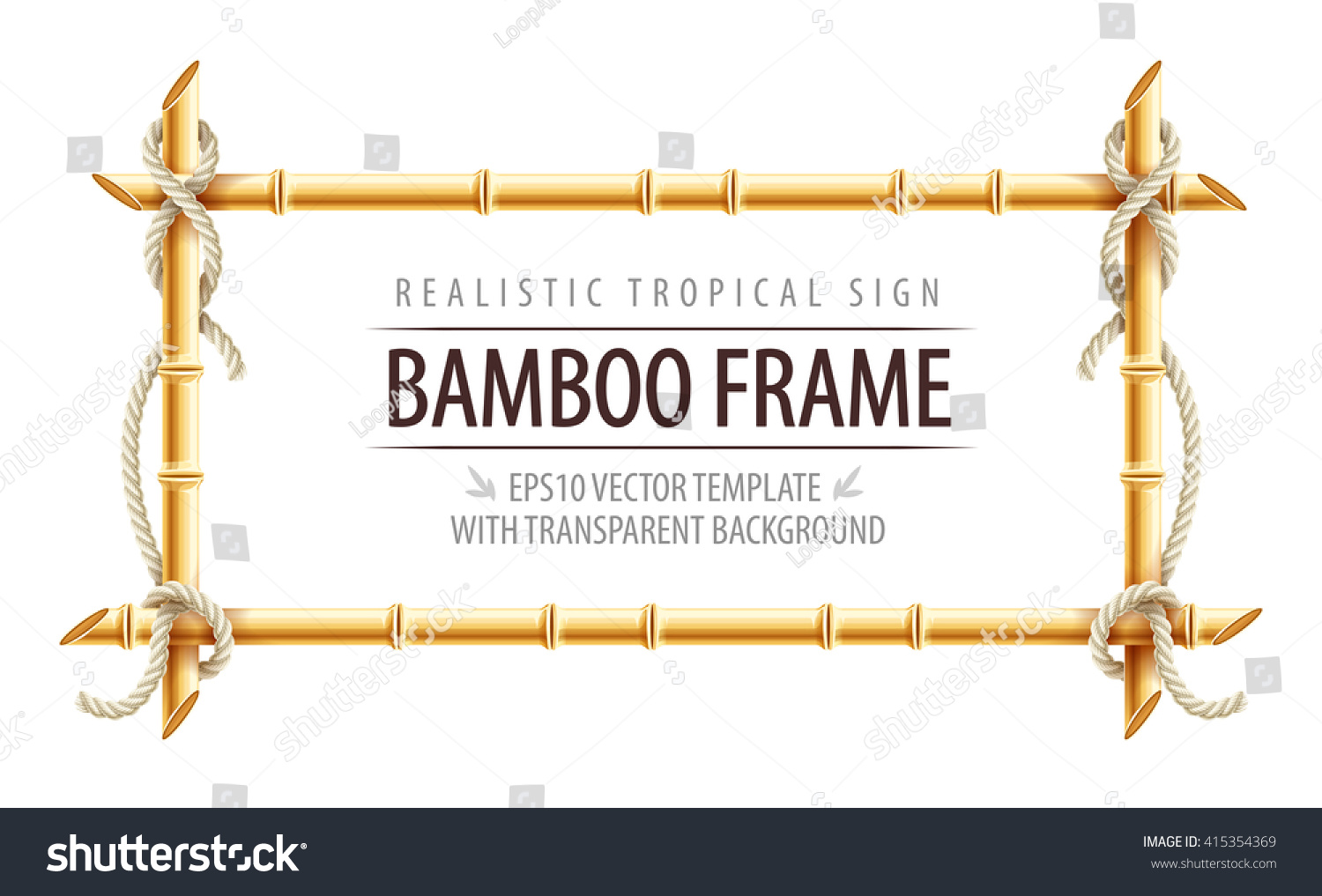 bamboo frame template tropical signboard ropes のベクター画像素材