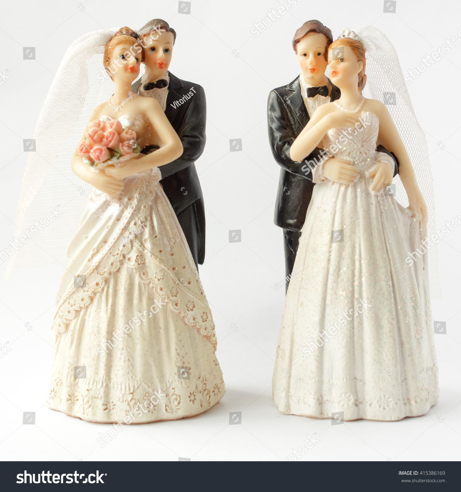 Two Pair Bride Groom Wedding Cake Stock Photo & Image (Royalty-Free ...