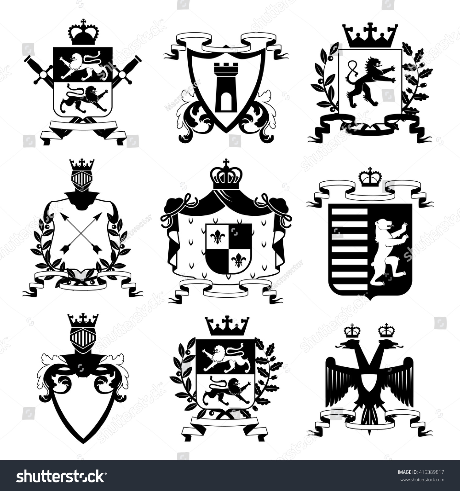 Heraldic coat arms family crest shields stock vector 415389817 heraldic coat of arms family crest and shields emblems design black icons collection abstract isolated vector buycottarizona