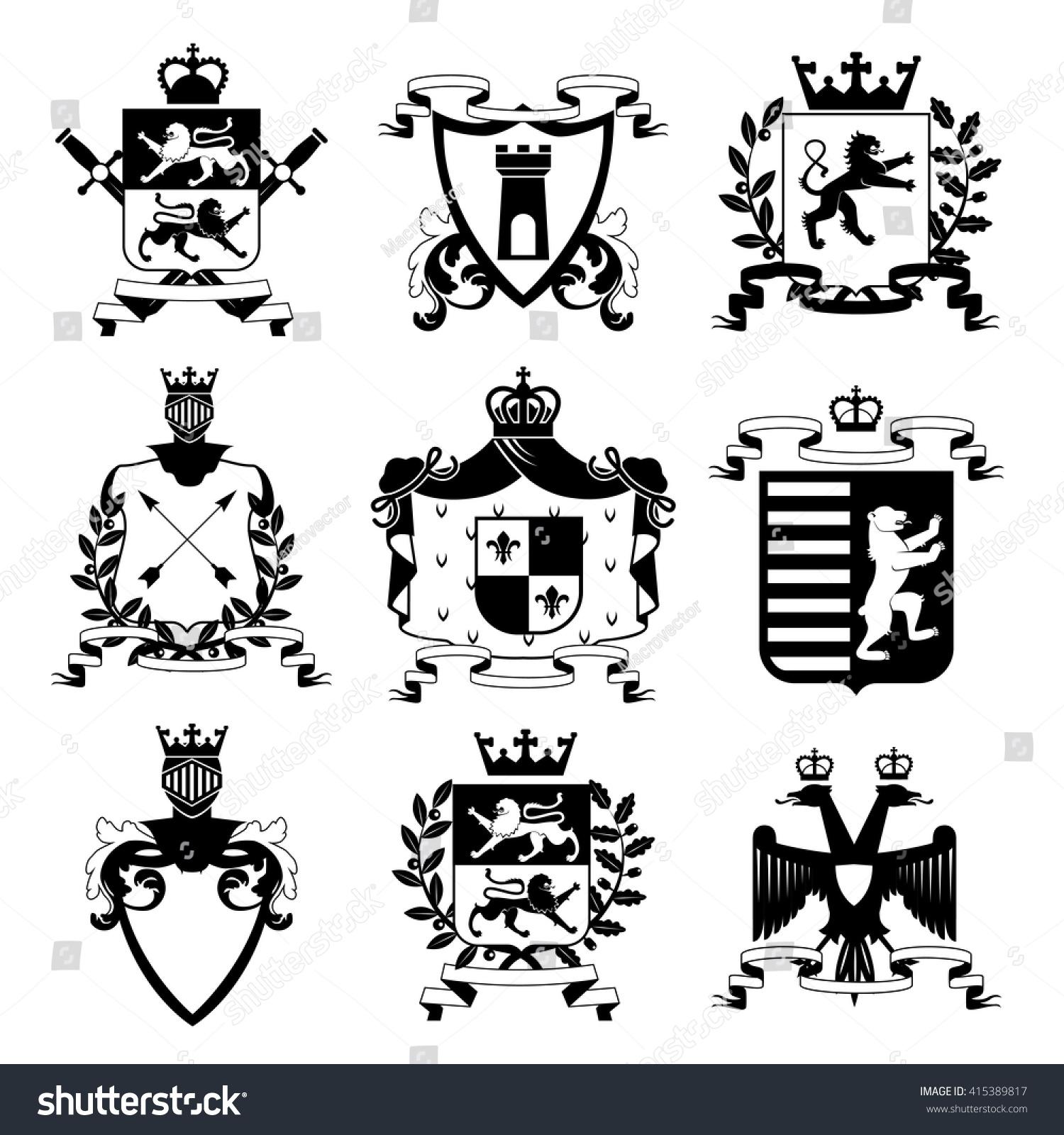 Heraldic Coat Arms Family Crest Shields Stock Vector 415389817 ...