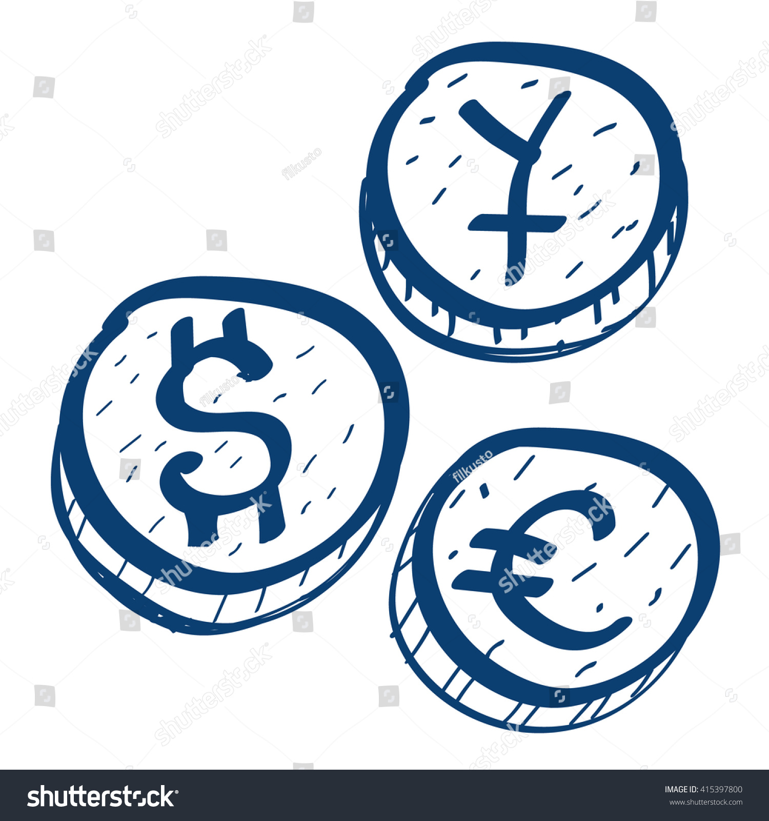 Coins symbols foreign currency icon design stock vector 415397800 coins with symbols of foreign currency icon design elements in hand drawn style buycottarizona