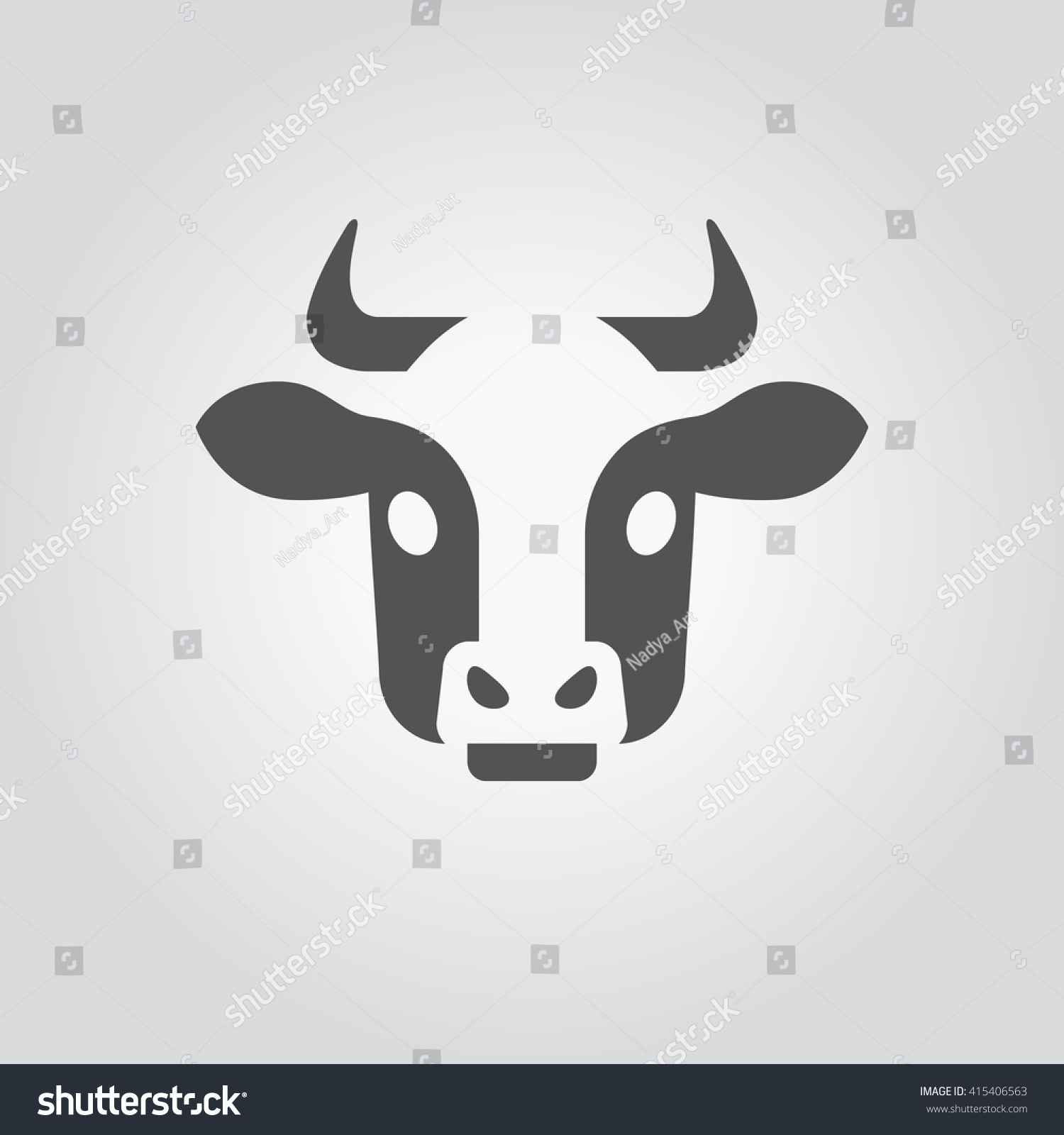 Vector cow head icon symbol holstein stock vector 415406563 vector cow head icon the symbol of a holstein breed cow logo with a buycottarizona