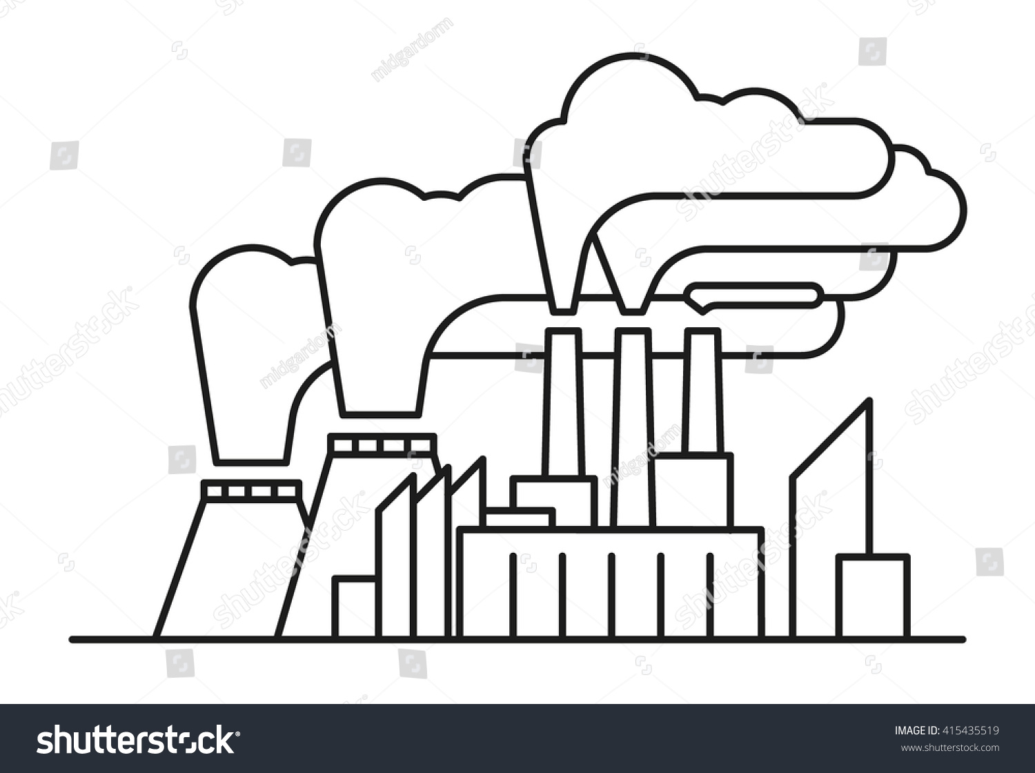 Line art illustration of poisonous air pollution with industrial waste line art ecological concept with