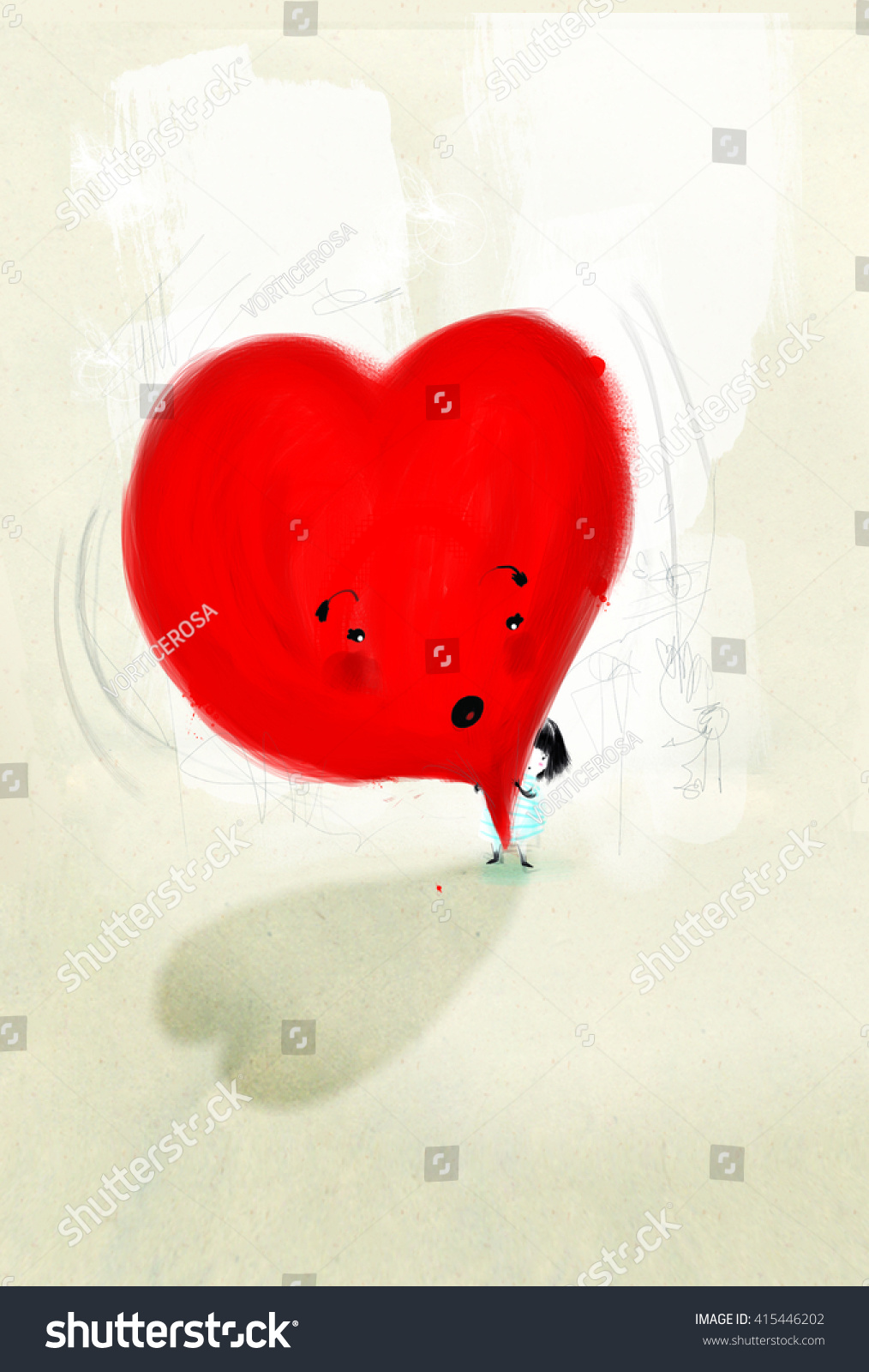 Digital Media / San Valentine/ Little Girl Playes With Heart