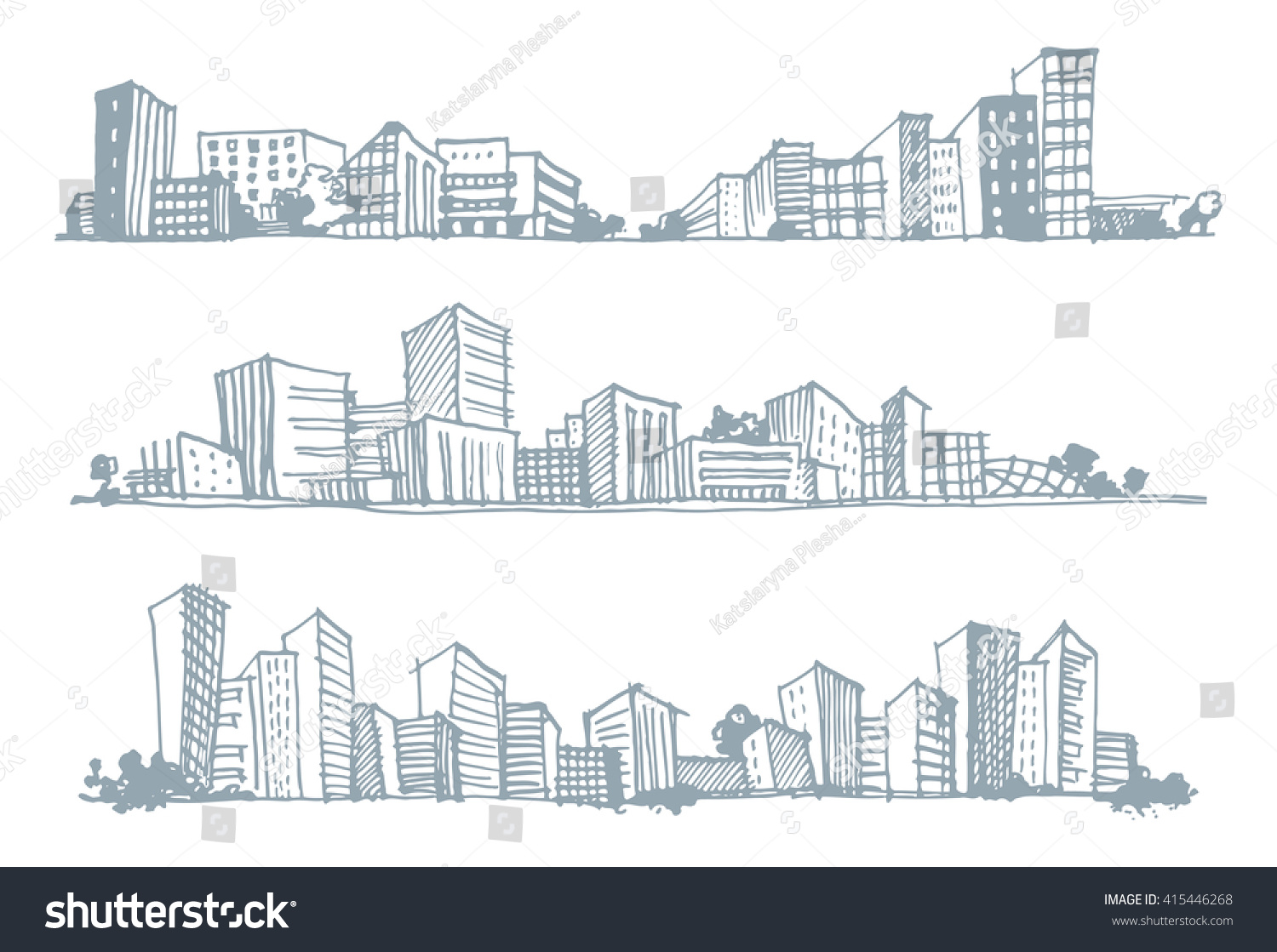 Hand drawn sketches of urban silhouettes Vector illustration