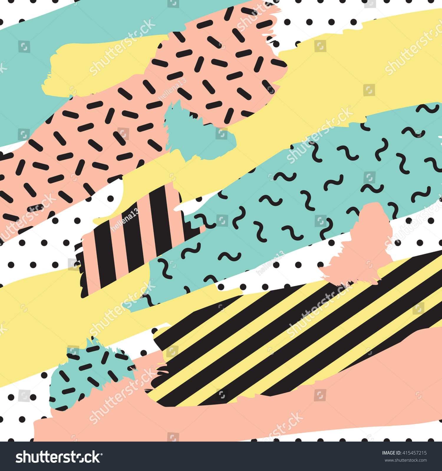 Retro Collage Background 80s 90s Memphis Stock Vector Royalty