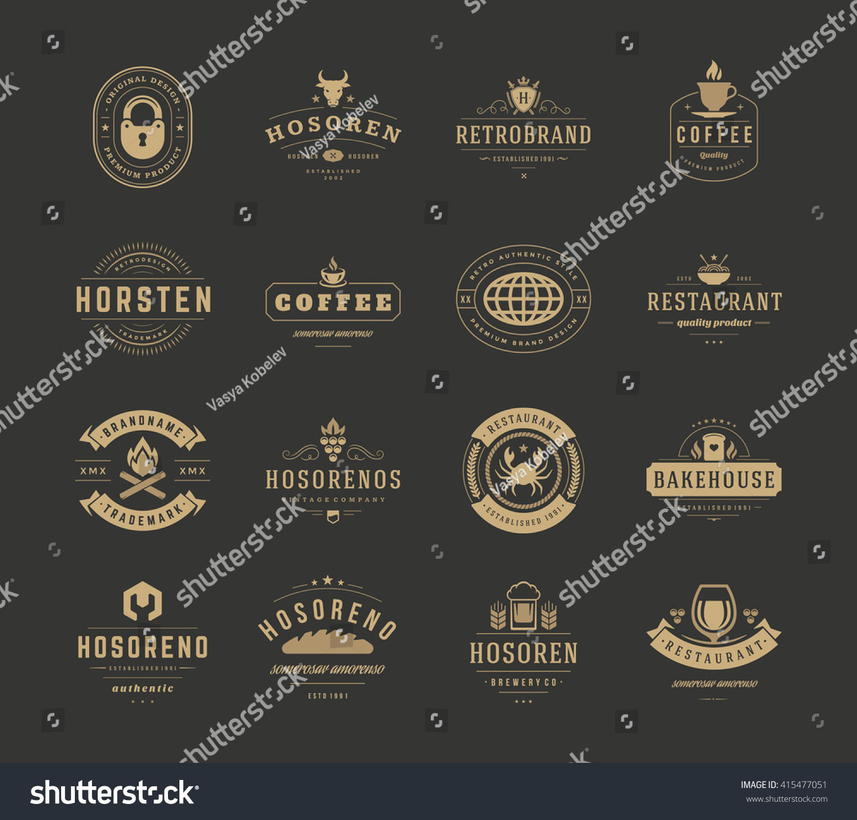 vintage logos design templates set vector stock vector 415477051