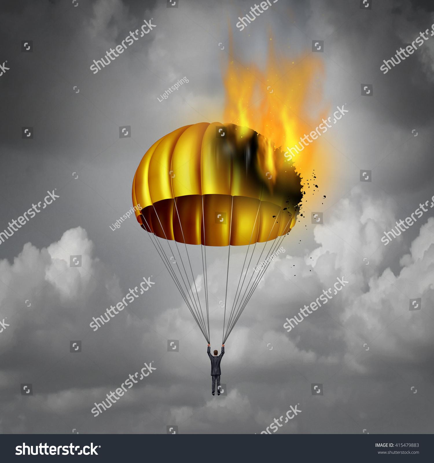 Golden Parachute Problem Concept Businessman Peril Stock