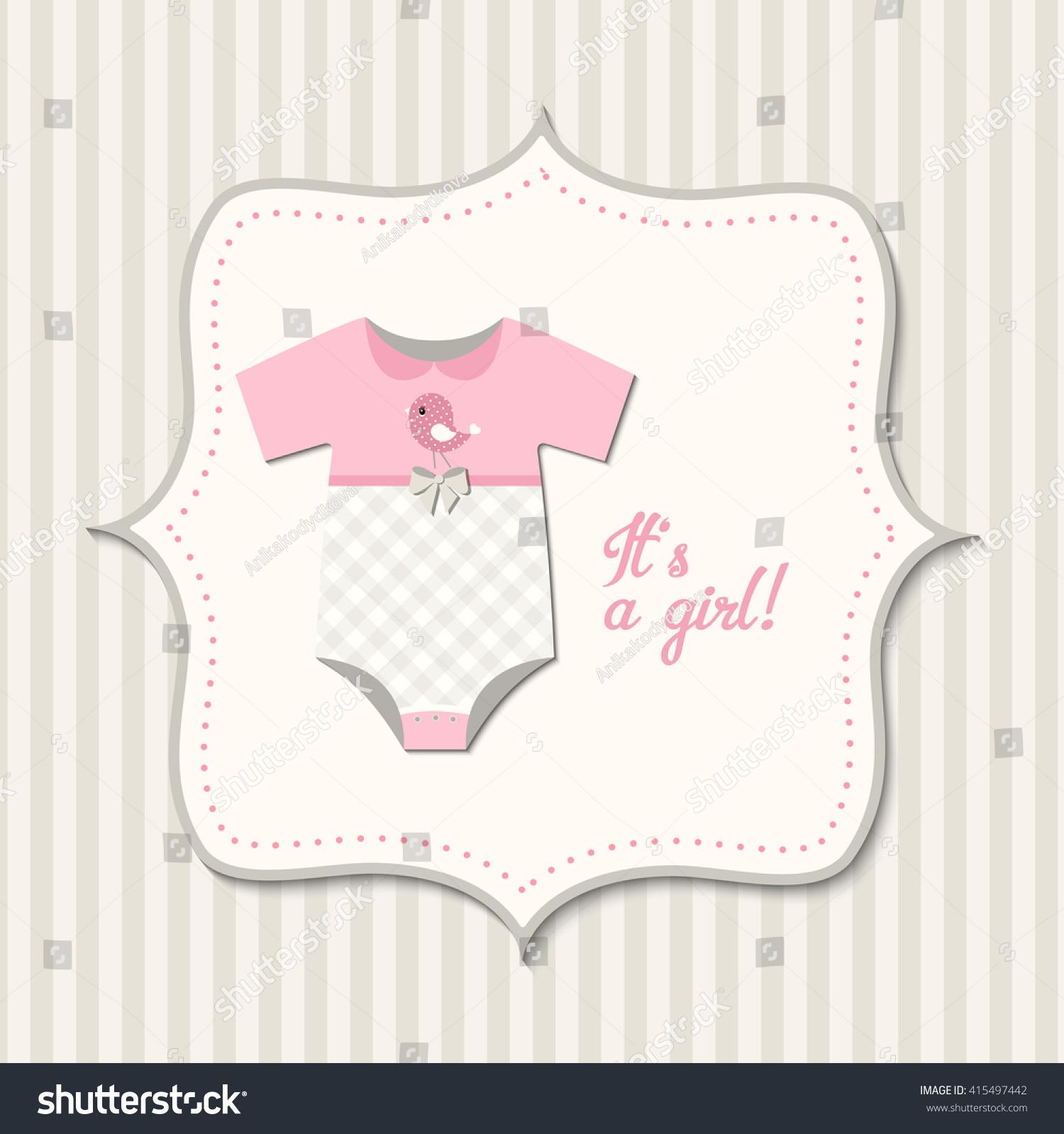 Girl Baby Shower Retro Styled Card Stock Vector