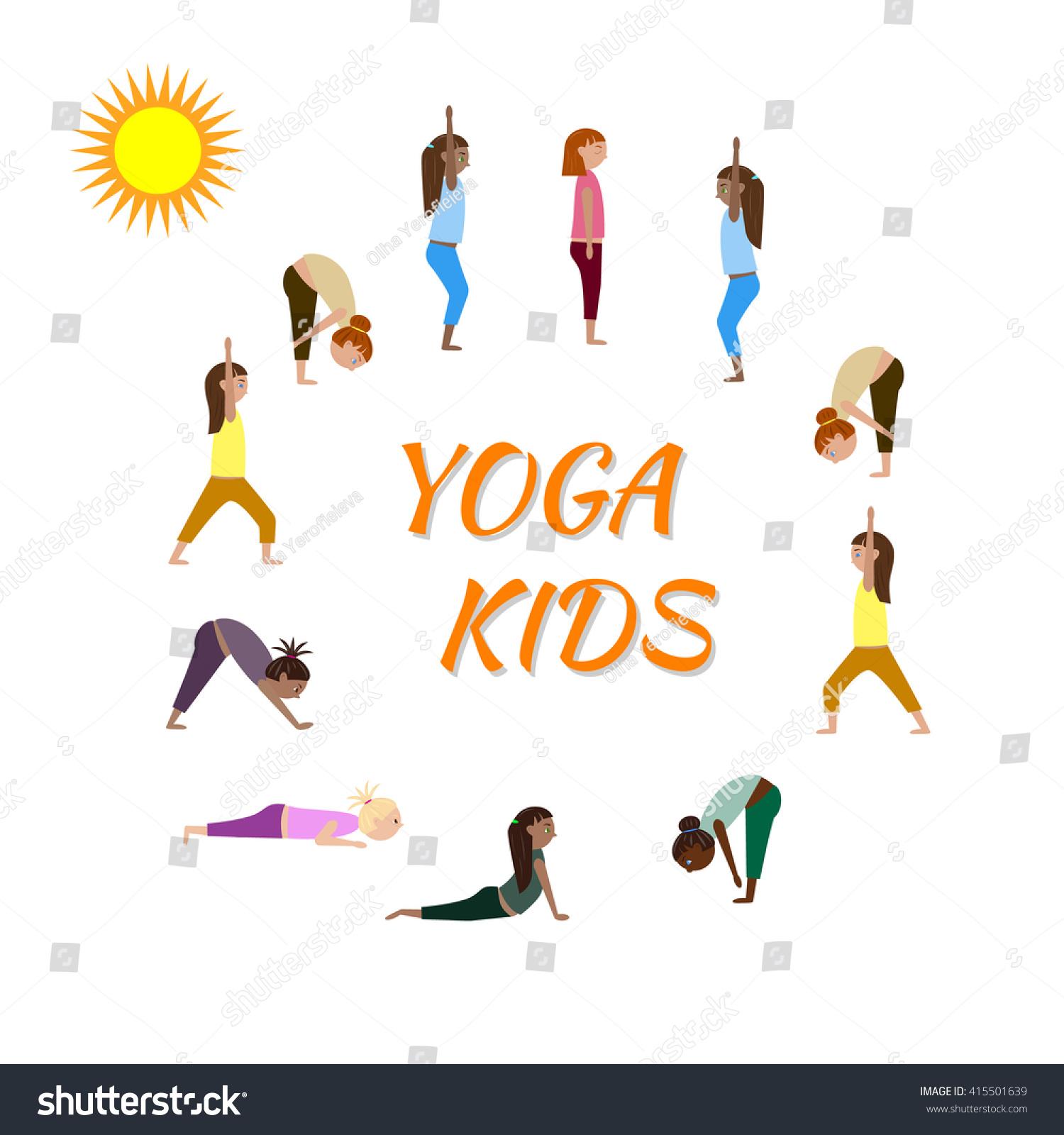 Children Make Yoga Exercises Vector Yoga Stock Vector