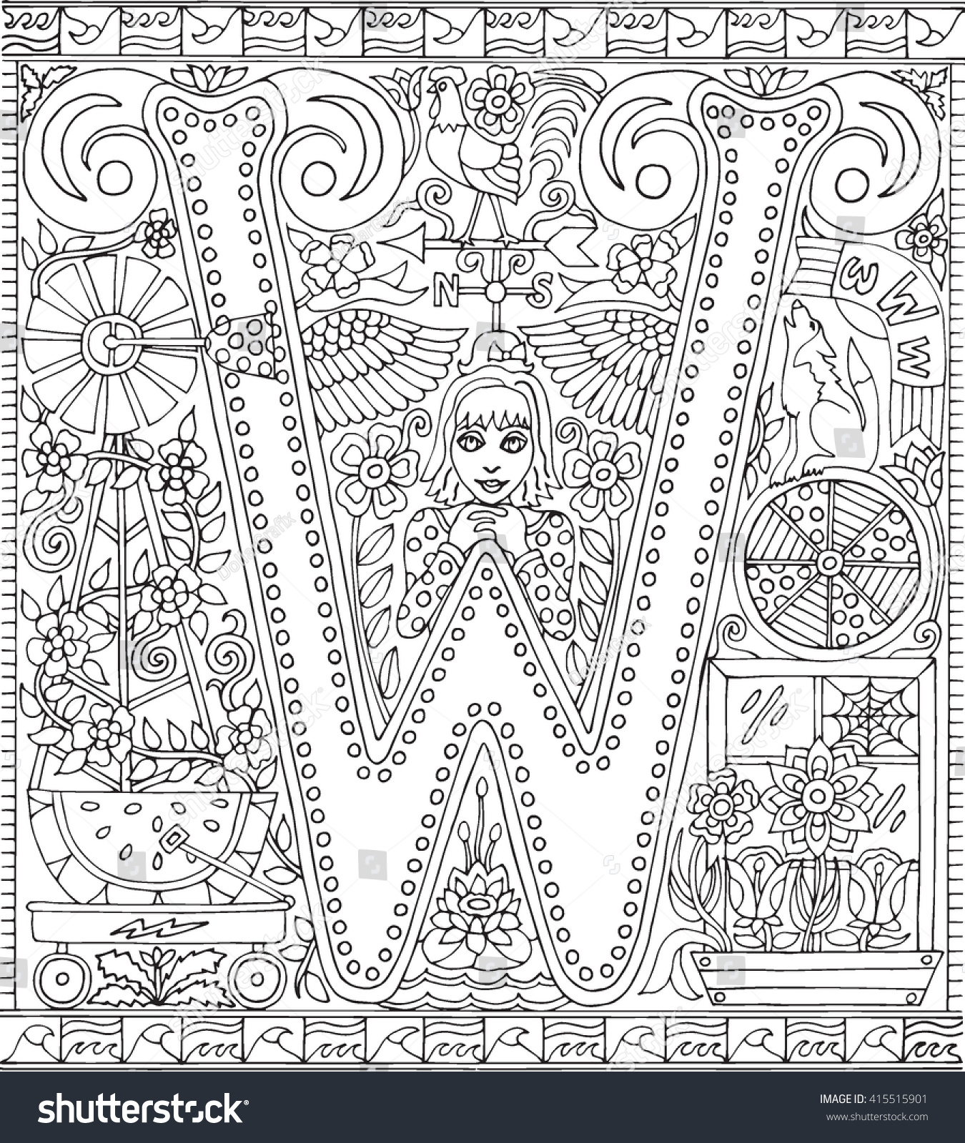 Alphabet Letter W Adult Coloring Book Stock Vector