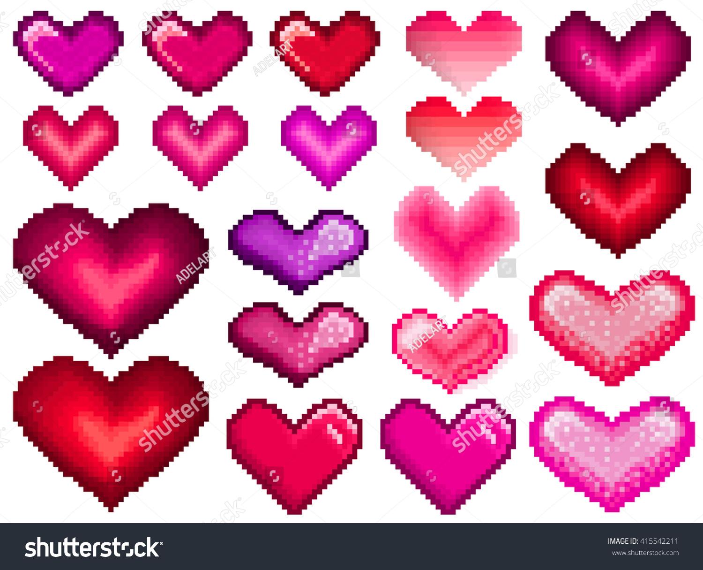 Pixel Hearts Set Love Pixel Heart Stock Vector Royalty Free