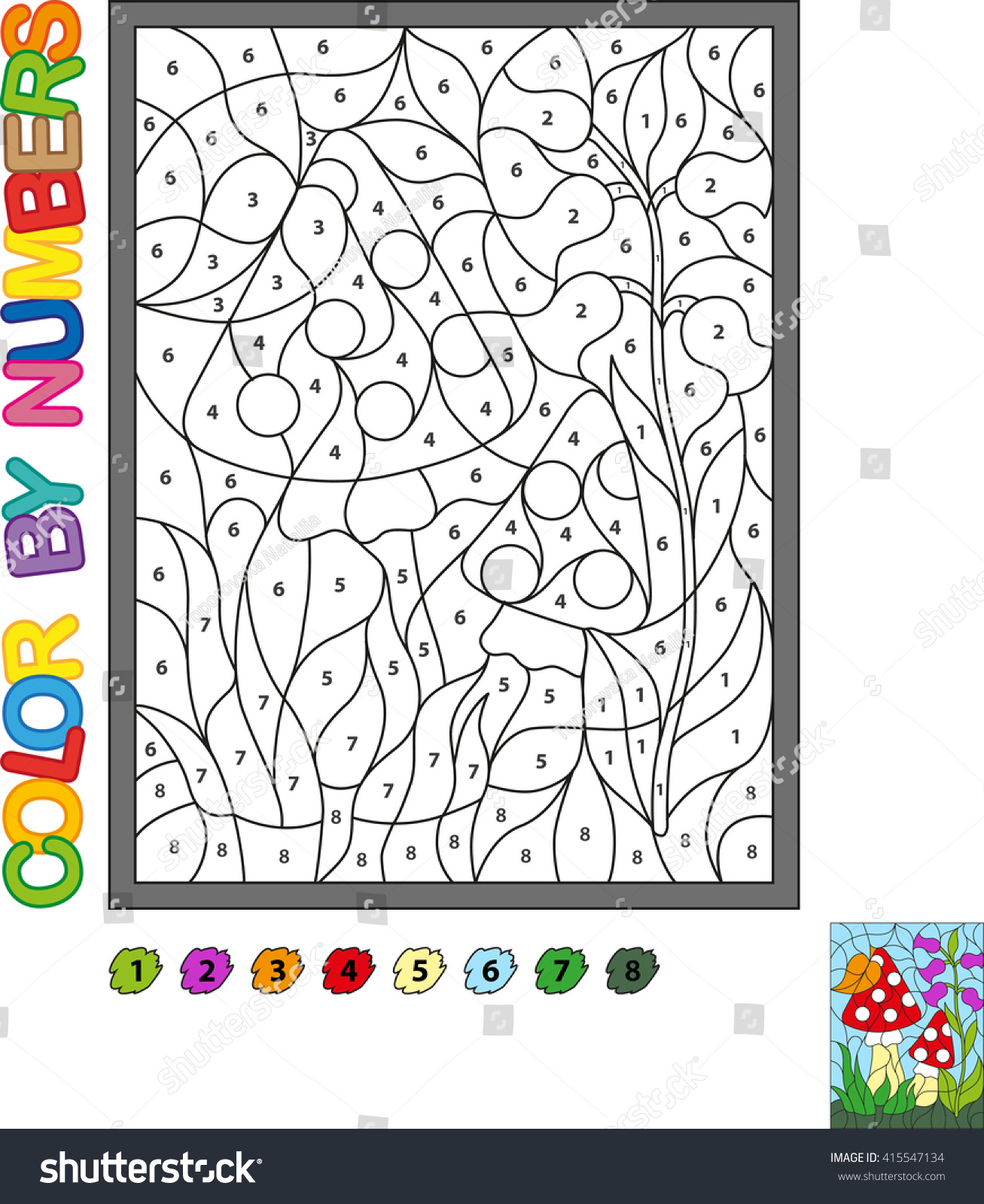 puzzle kids color by numbers vector stock vector 415547134