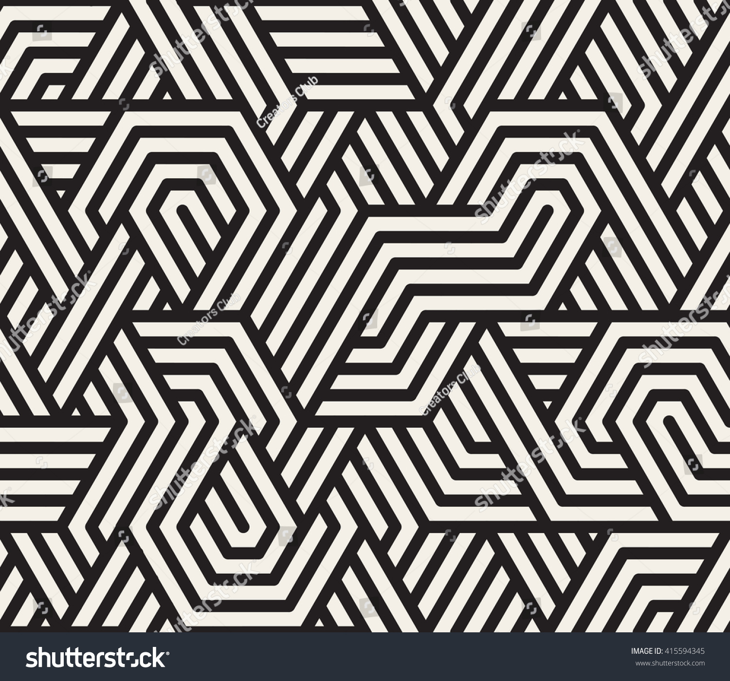 vector seamless black and white irregular triangle lines