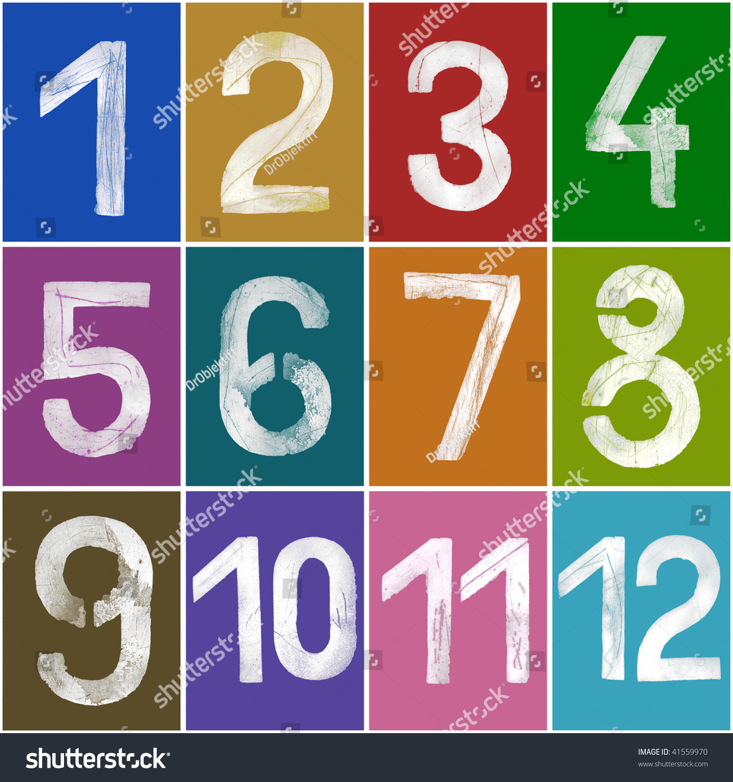 Grungy Numbers V1 (1-12) With Grainy Surface, Xxl Size Stock Photo ...