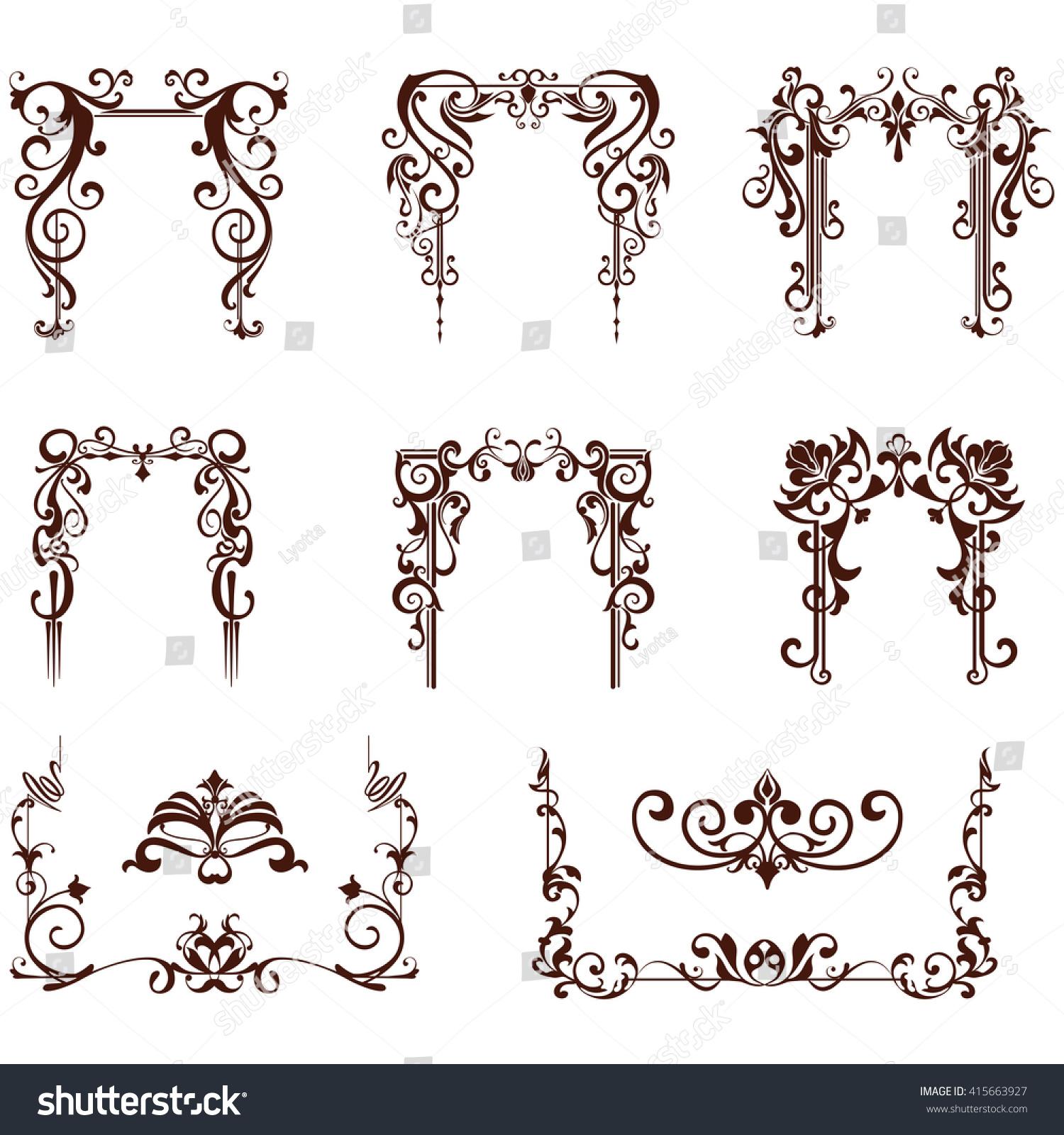 Art Nouveau Elements Corners Design Ornament Vector de ...