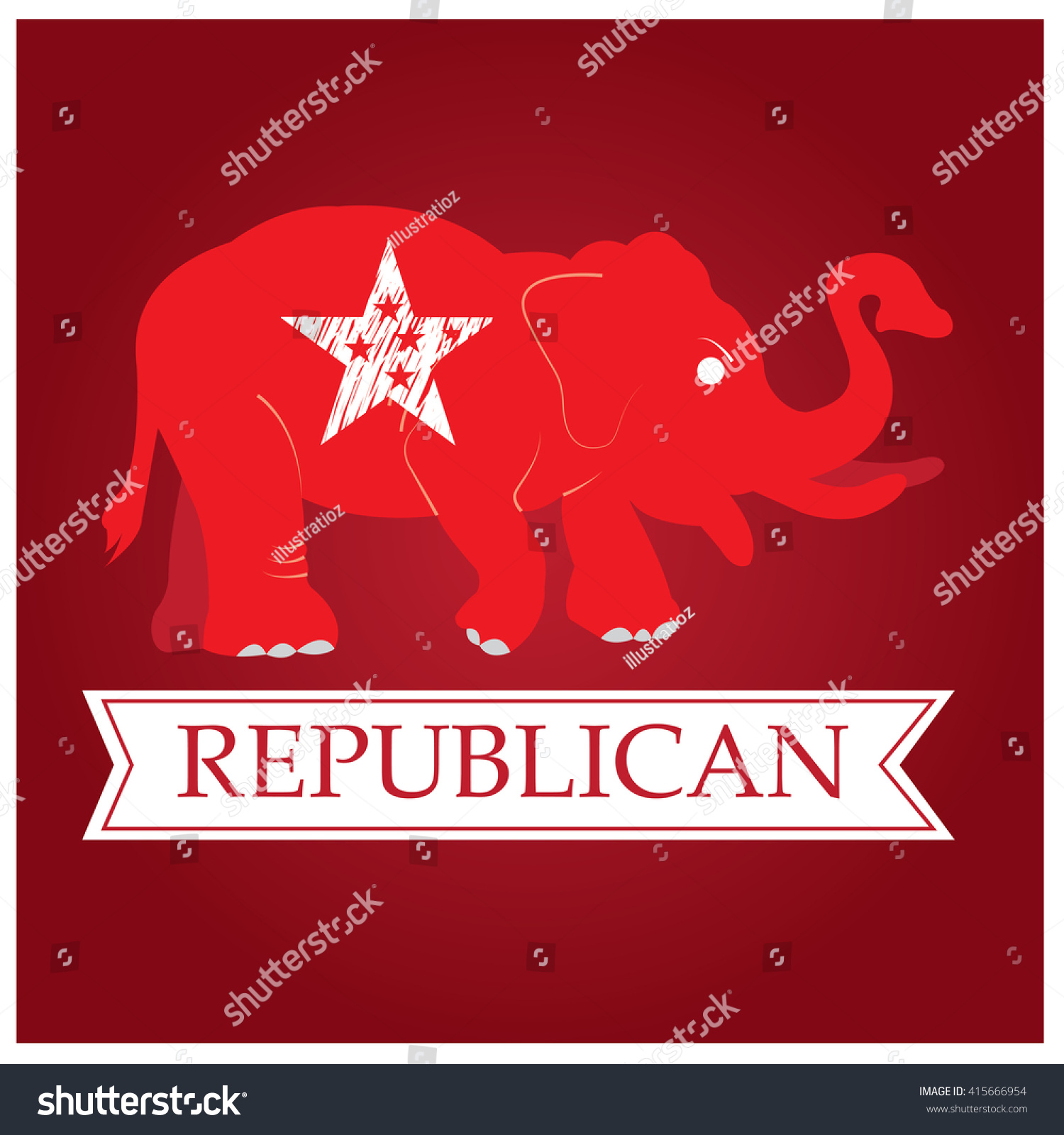 Isolated Republican Symbol Star Ribbon Text Stock Vector 415666954