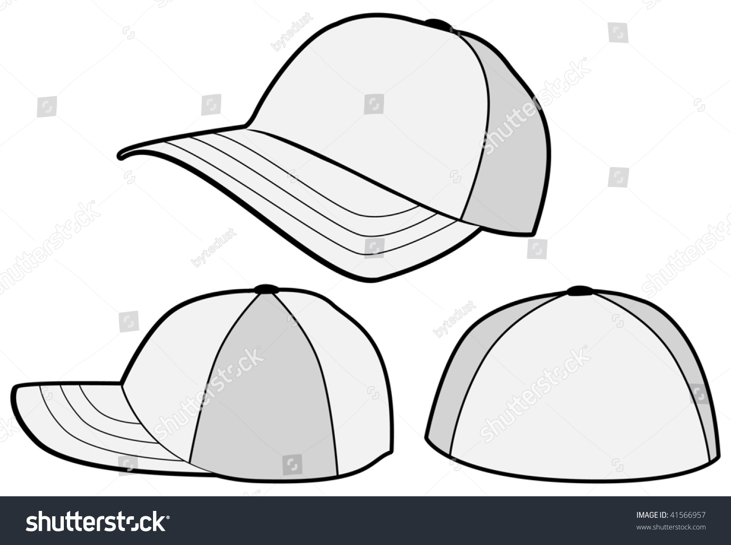 fdaf1c01bf1 Vector template of a baseball hat or cap. All objects and details are  isolated. Colors and white background color are easy to adjust customize.  Stock Photo