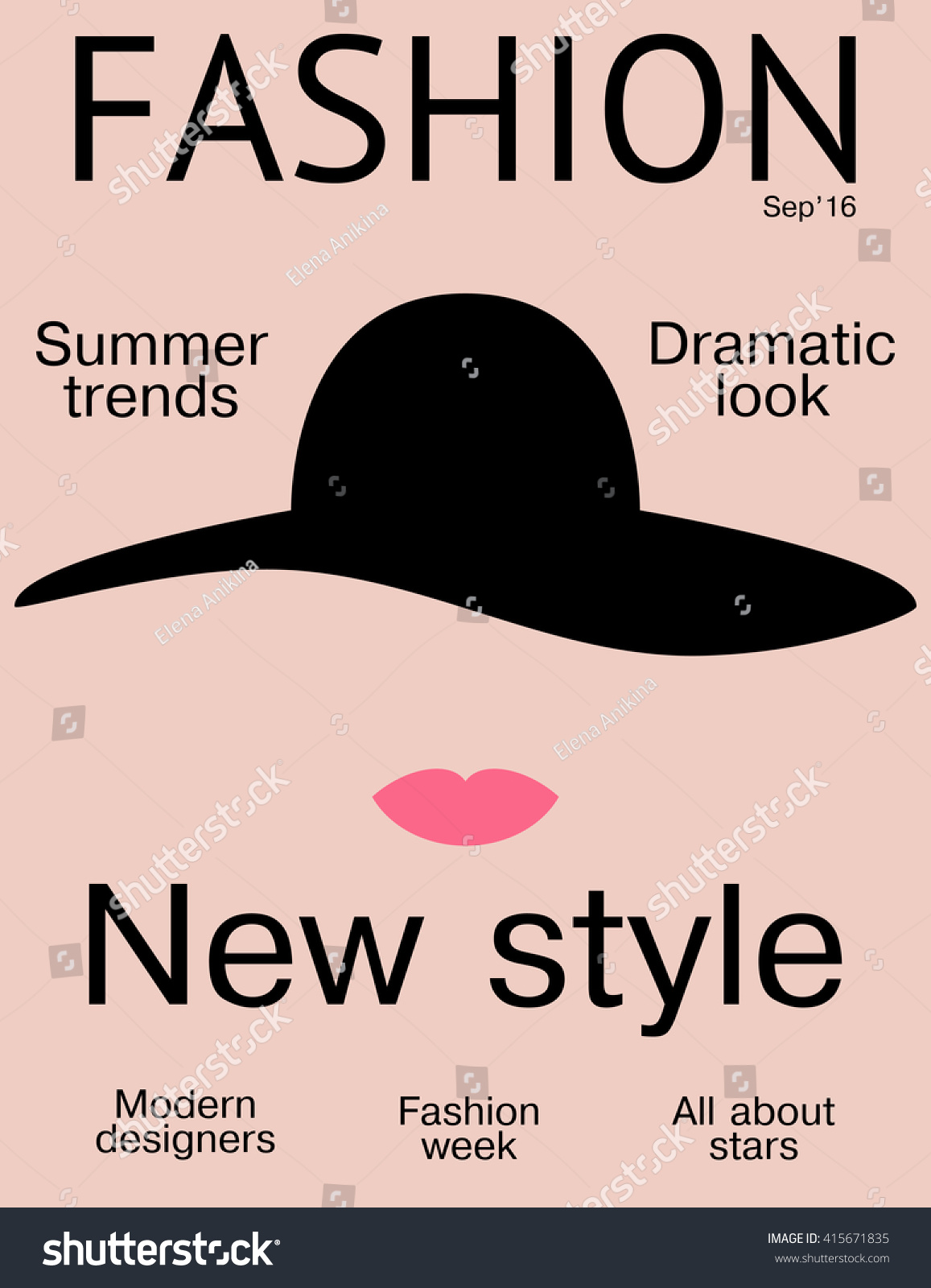 Fashion Magazine Cover Design Template Simple Stock Vector Royalty Free 415671835