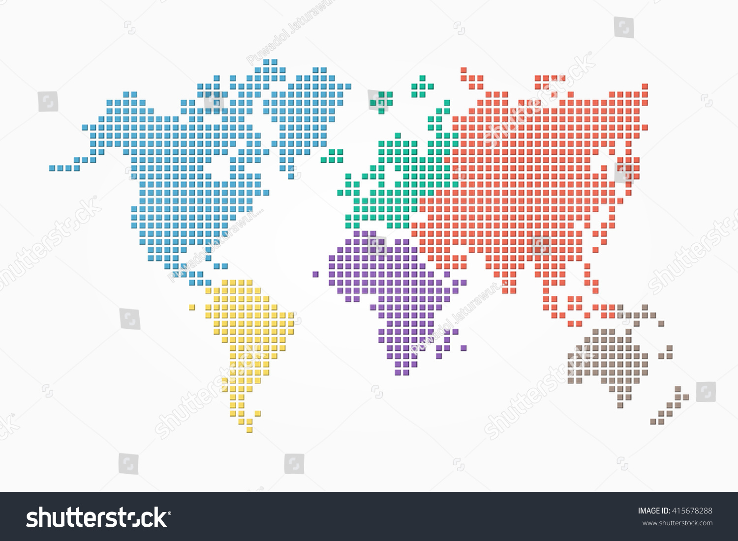 World map pixel style flat color vectores en stock 415678288 world map pixel style and flat color design different color of continent gumiabroncs Gallery
