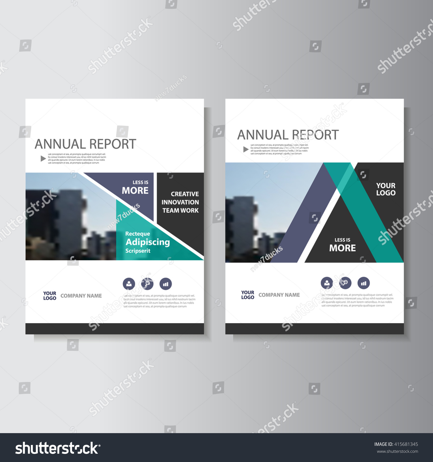 Purple Green Vector Annual Report Leaflet Stock Vector 415681345 ...
