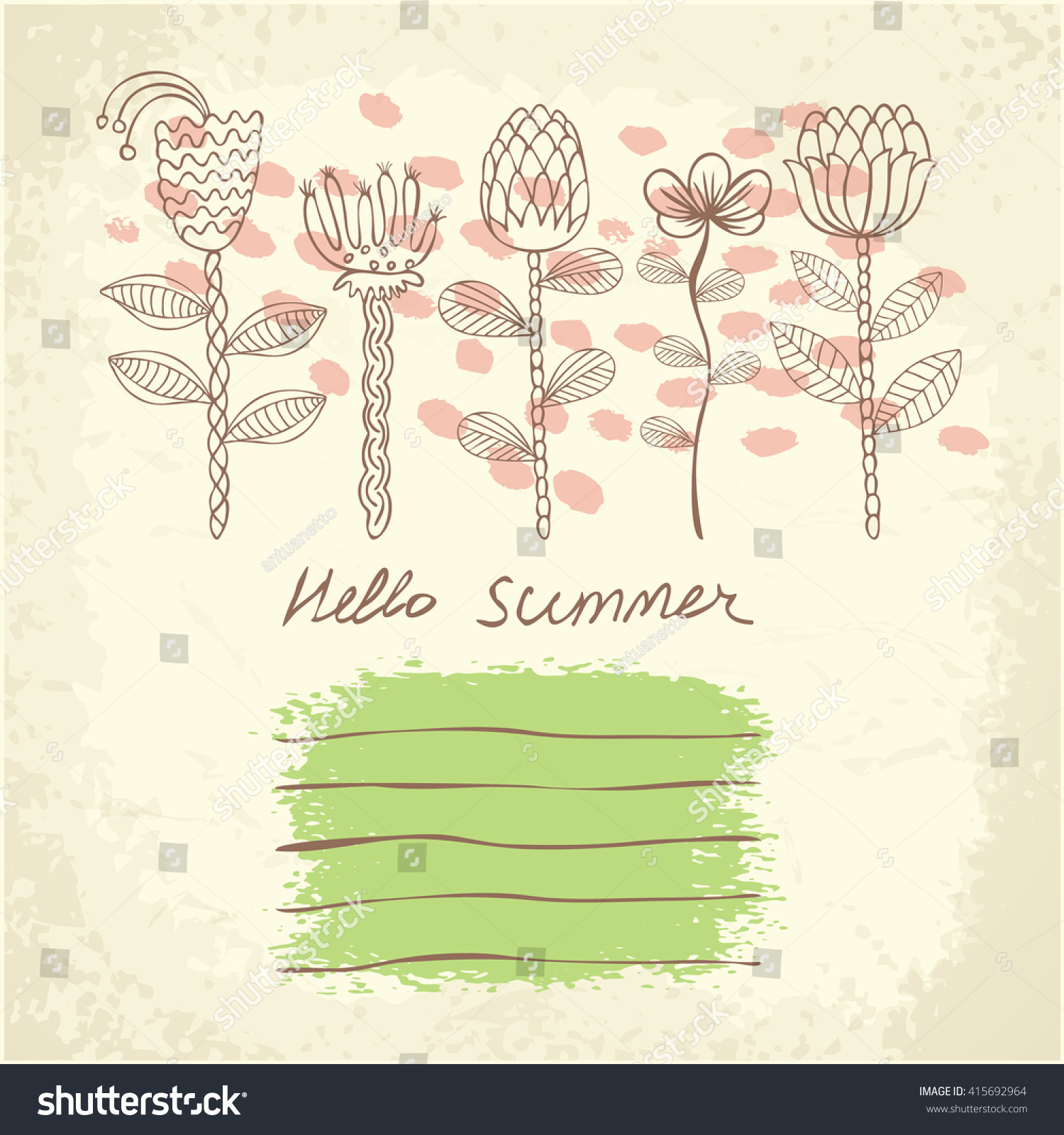 vector hand drawn floral template card stock vector royalty free